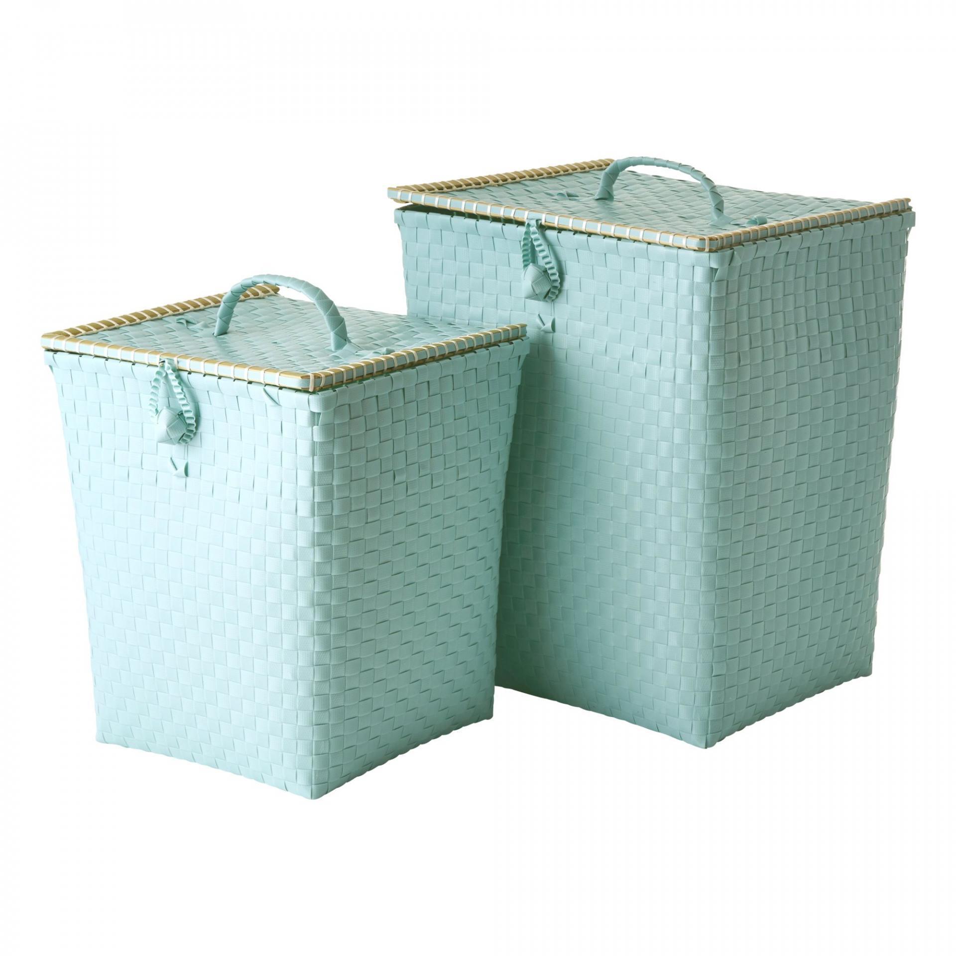 rice Plastový koš na prádlo Mint Menší, zelená barva, plast