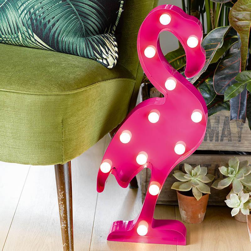 Talking Tables Kovová lampa Flamingo, růžová barva, kov