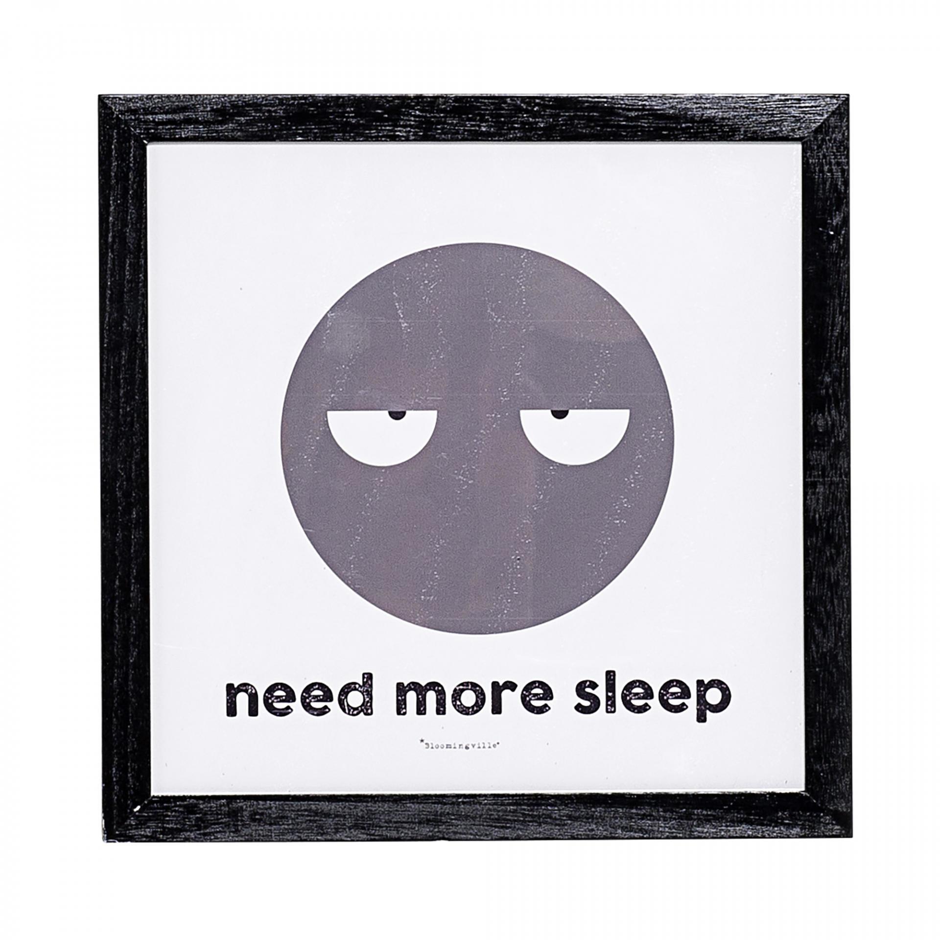 Bloomingville Obrázek Need more sleep, šedá barva, černá barva, dřevo