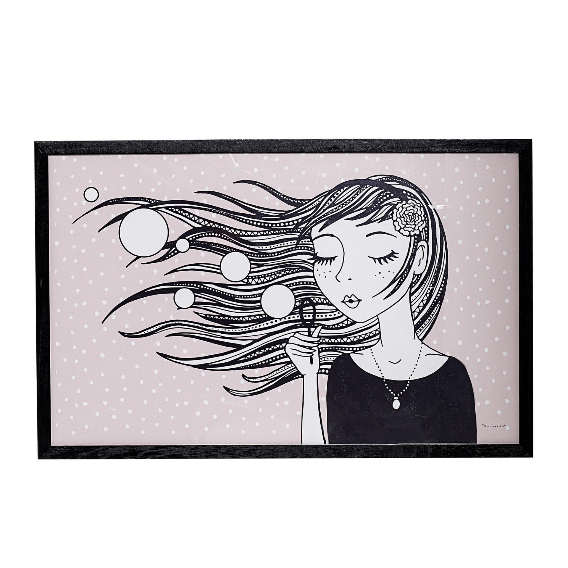 Bloomingville Obrázek v rámu Girl Powder, růžová barva, černá barva, dřevo, plast