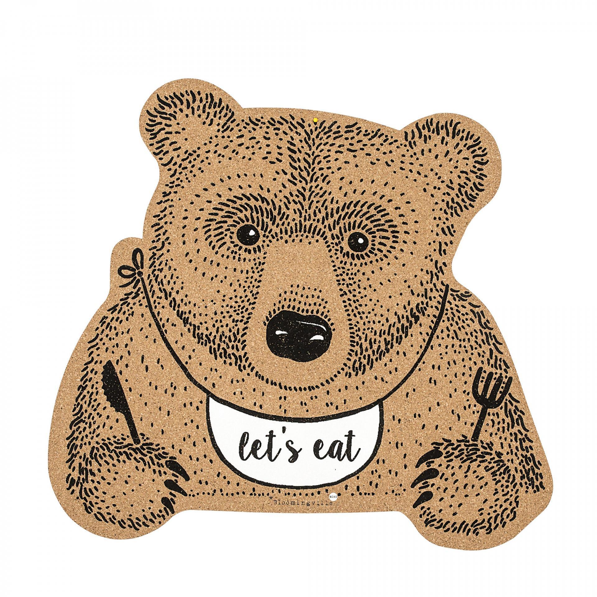 Bloomingville Korkové prostírání Bear, hnědá barva, korek - Bloomingville Korkové prostírání s medvě