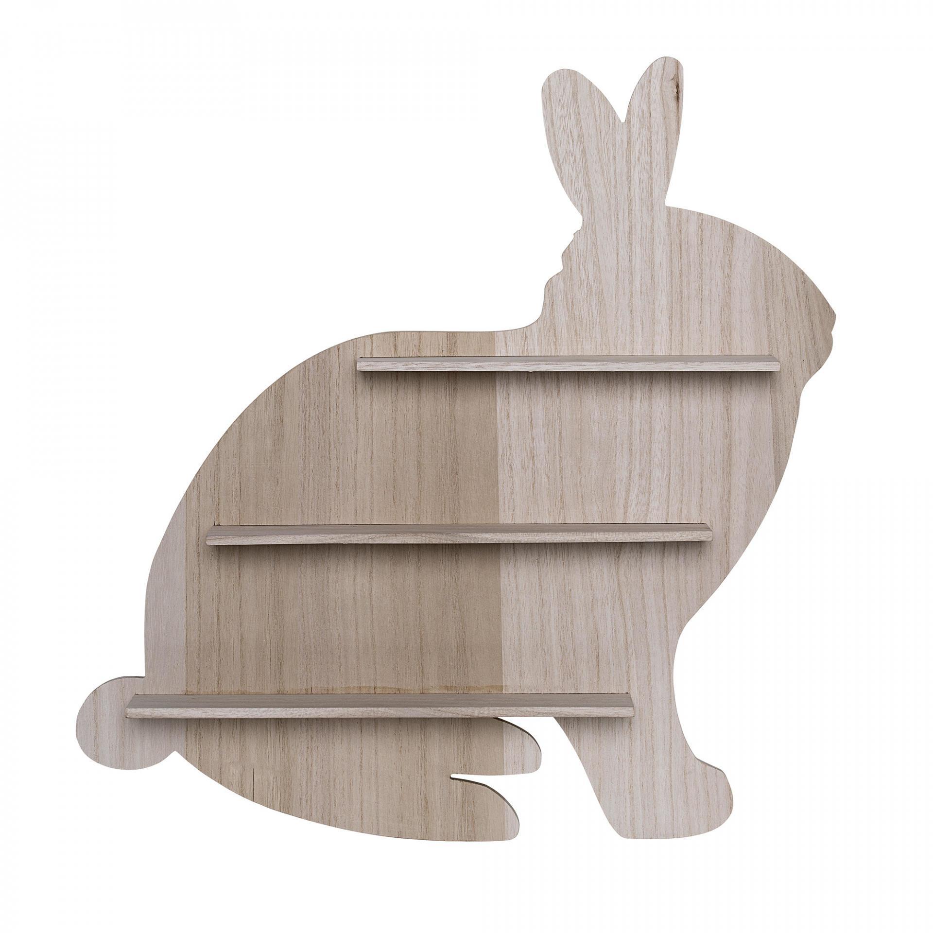 Bloomingville Dřevěná polička Rabbit Nature, hnědá barva, dřevo