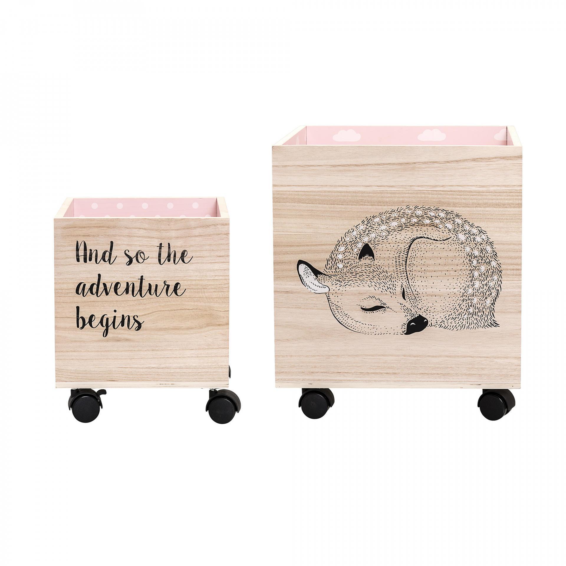 Bloomingville Úložný box na kolečkách Bambi Menší, růžová barva, dřevo