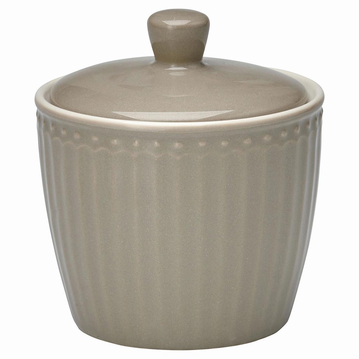 GREEN GATE Porcelánová cukřenka Alice warm grey, šedá barva, porcelán