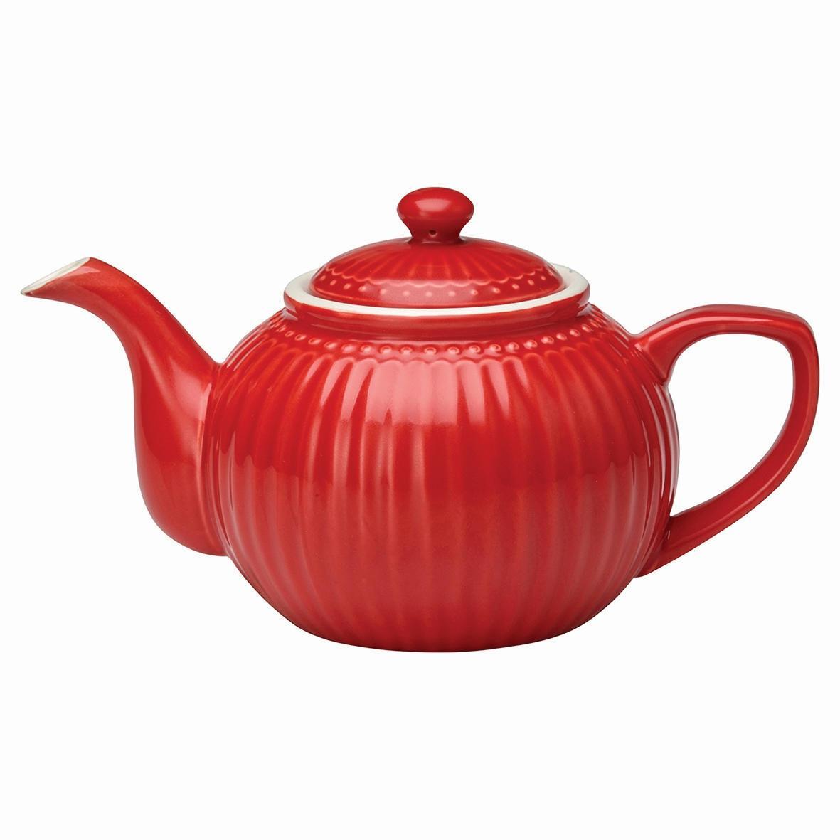 GREEN GATE Čajová konvice Alice red, červená barva, porcelán