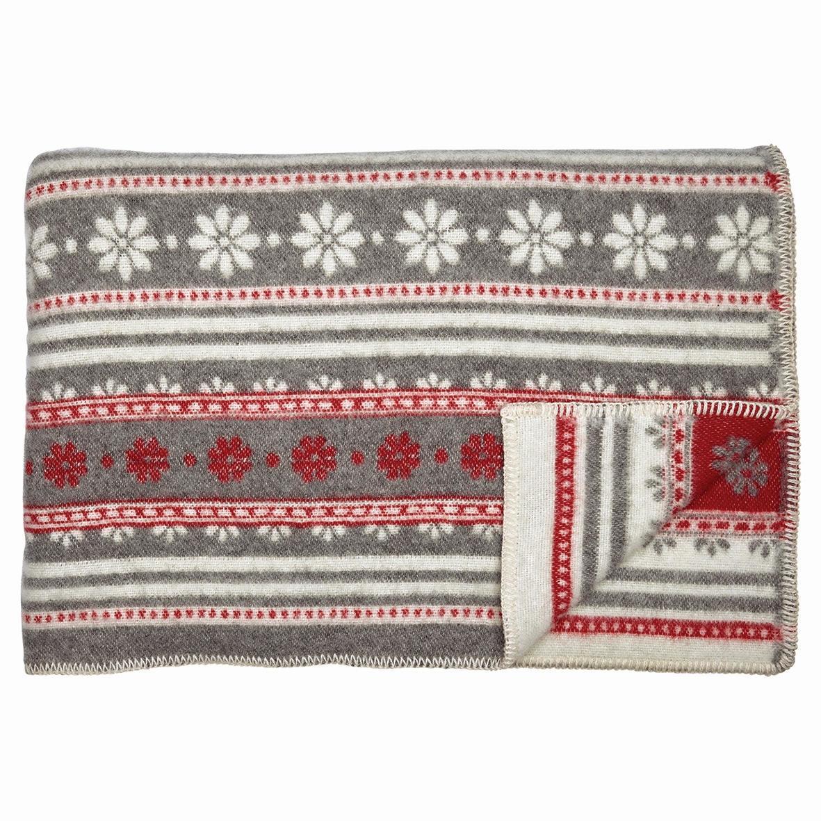 GREEN GATE Vlněná deka Bianca warm grey 130x180, červená barva, šedá barva, textil