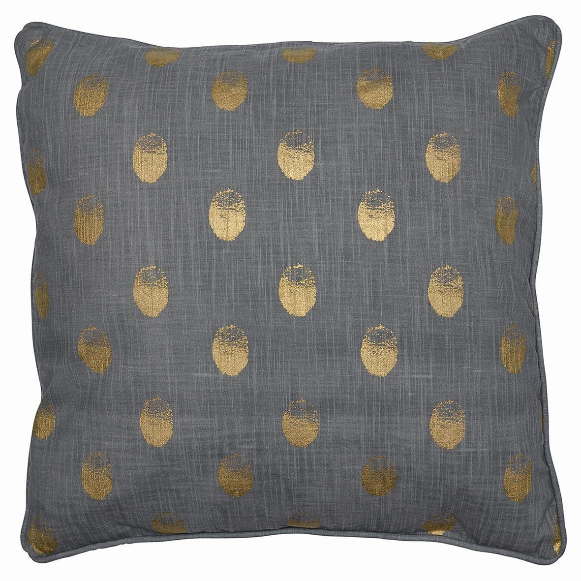 GREEN GATE Povlak na polštář Paula gold 50x50, šedá barva, zlatá barva, textil
