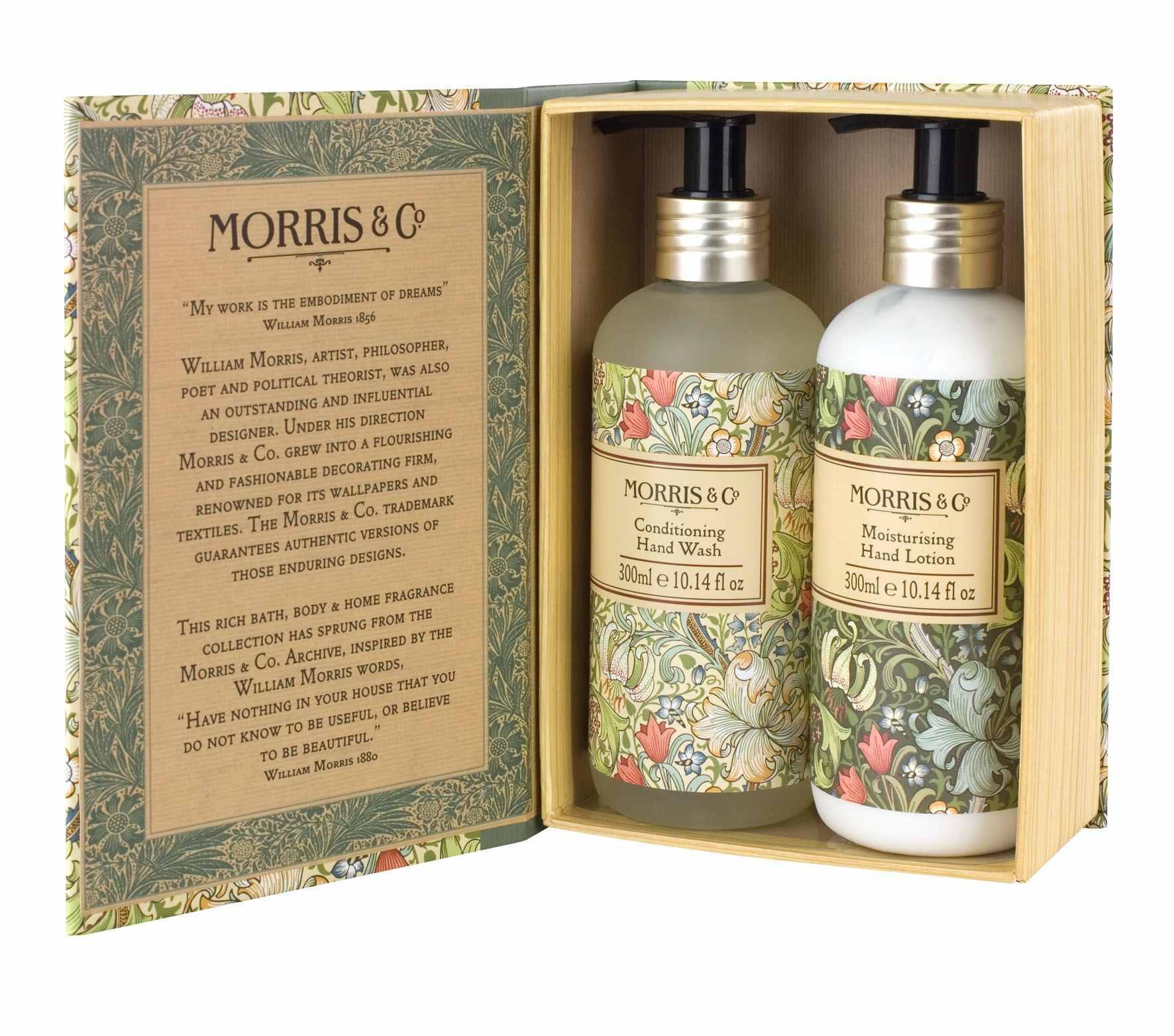 MORRIS & Co. Dárková sada mýdla a krému na ruce Golden Lily, zelená barva, žlutá barva, multi barva, plast, papír