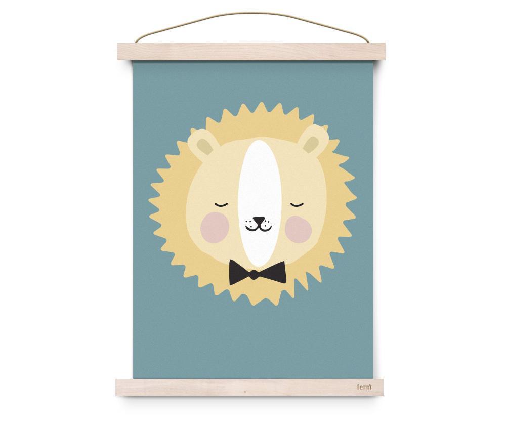 EEF lillemor Plakát do dětského pokojíčku Friendly Lion A3, modrá barva, multi barva, papír