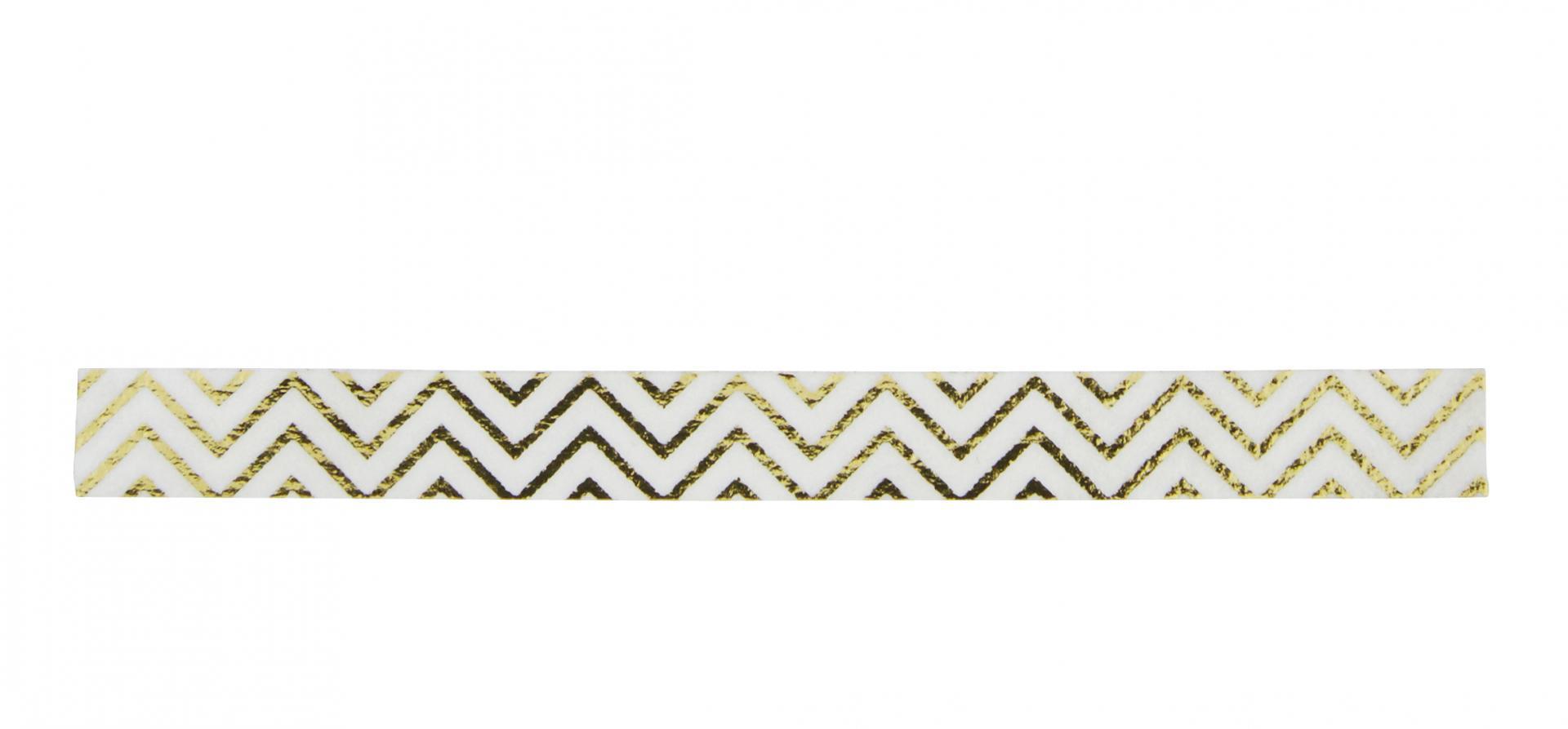 Madam Stoltz Designová samolepicí páska ZigZag Gold, bílá barva, zlatá barva, papír