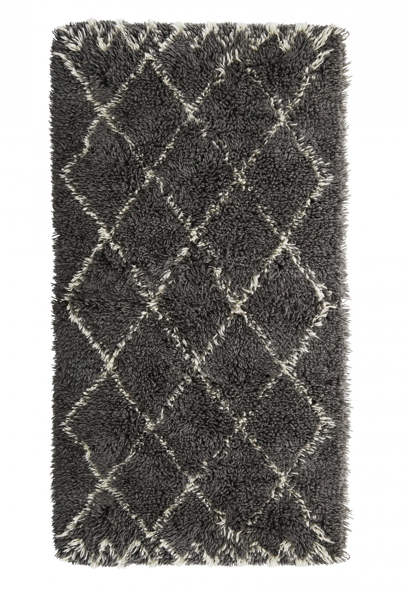 MADAM STOLTZ Vlněný koberec Grey Harlequin 90x170 cm, šedá barva, textil