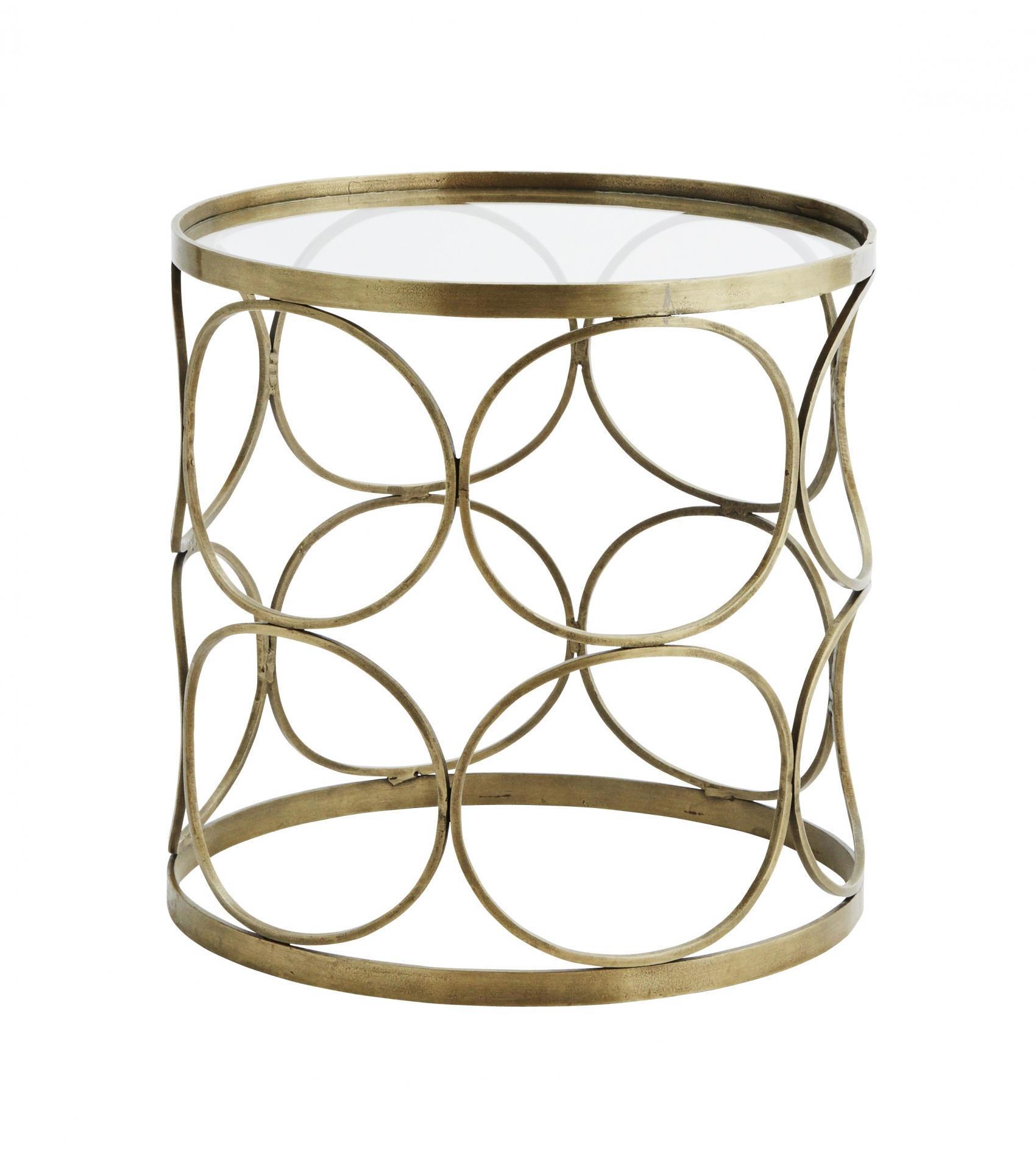 MADAM STOLTZ Odkládací stolek Circle Brass, zlatá barva, sklo, kov