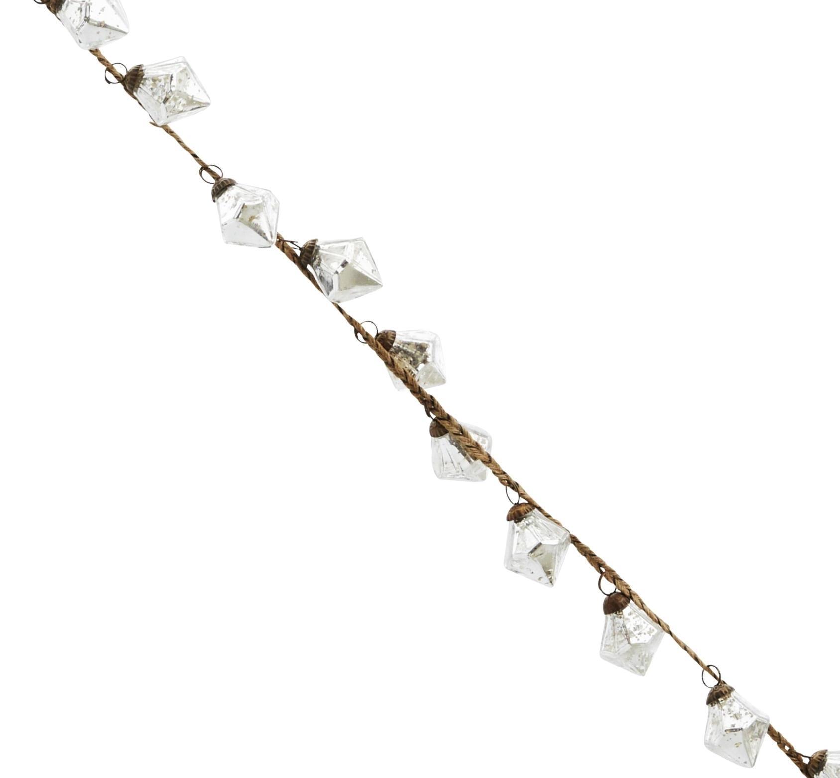 MADAM STOLTZ Girlanda s baňkami Diamond Antique silver, stříbrná barva, sklo
