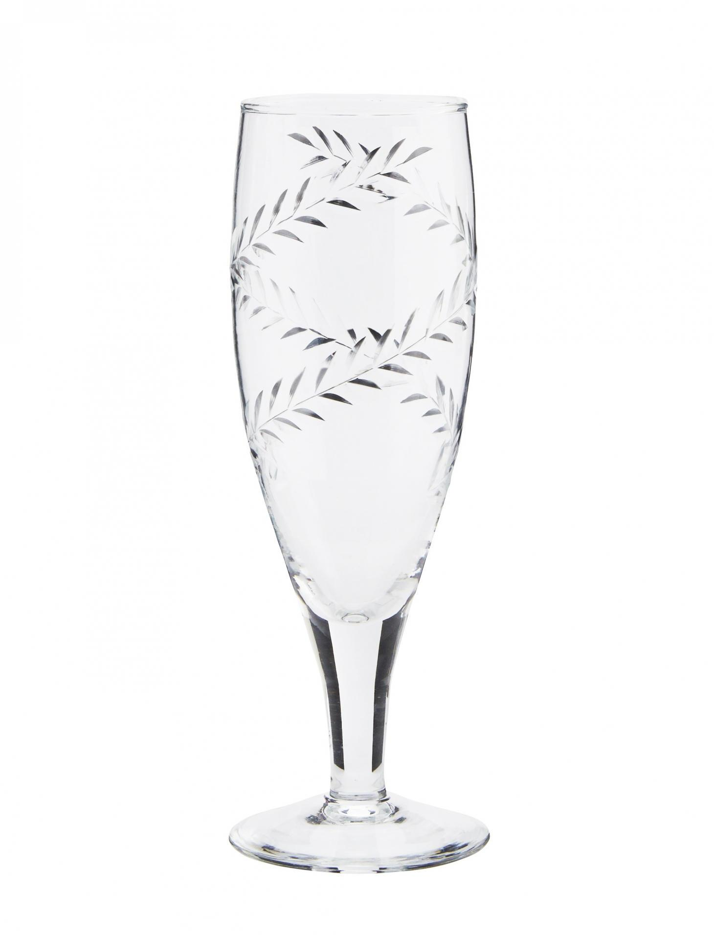 MADAM STOLTZ Sklenička na šampaňské Frond, čirá barva, sklo