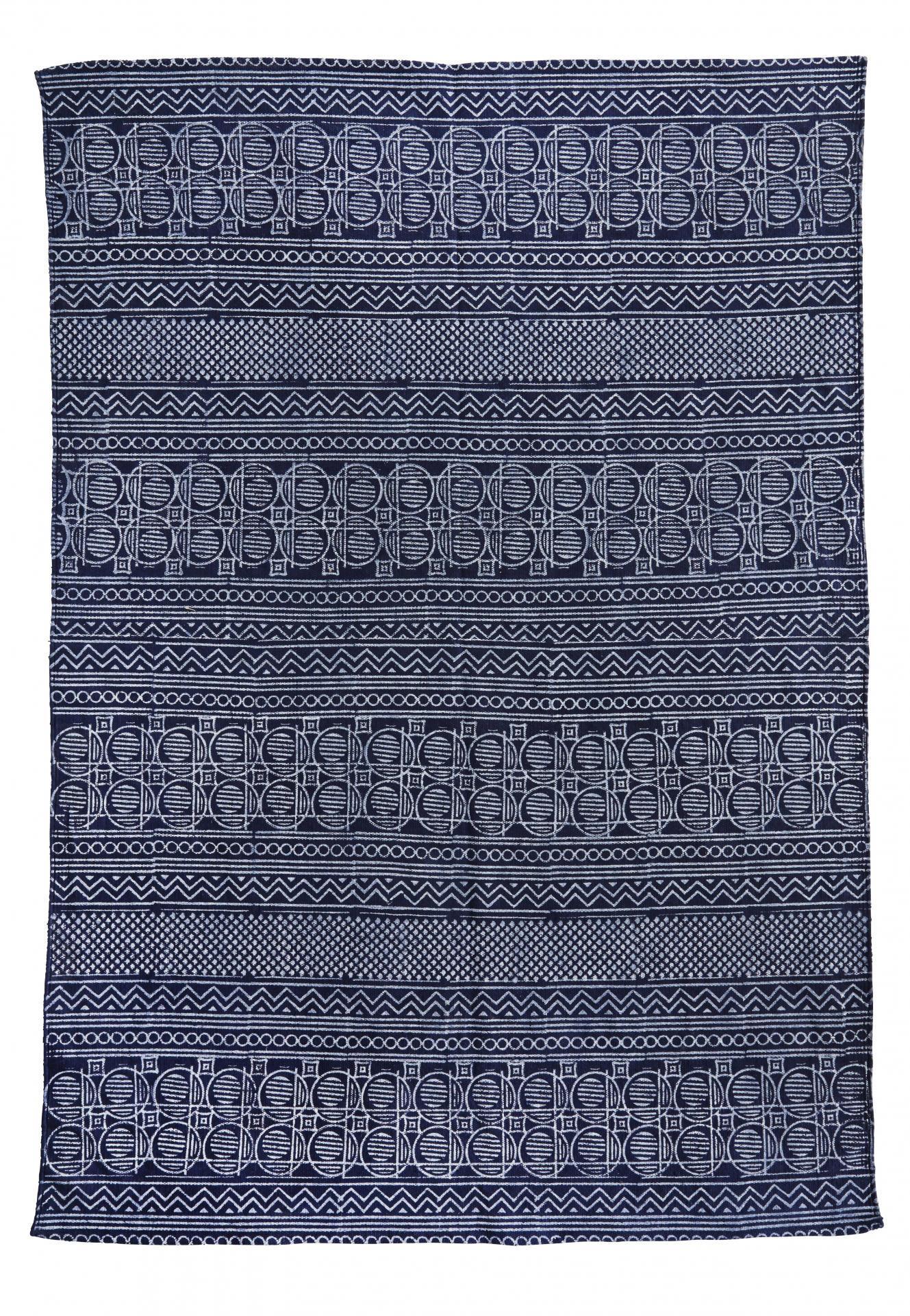 MADAM STOLTZ Bavlněný koberec s potiskem Blue 120x180 cm, modrá barva, textil