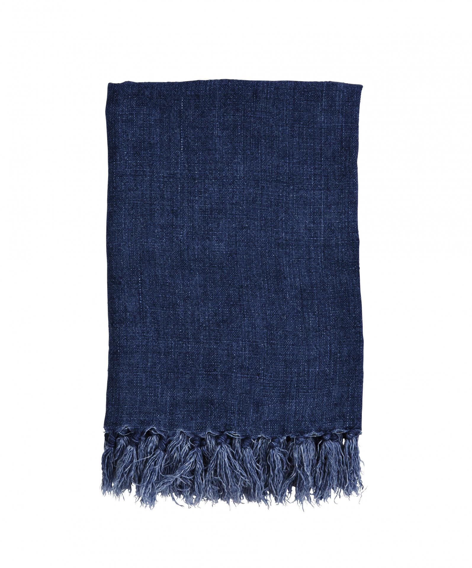 MADAM STOLTZ Lněný pléd Stonewash Blue, modrá barva, textil