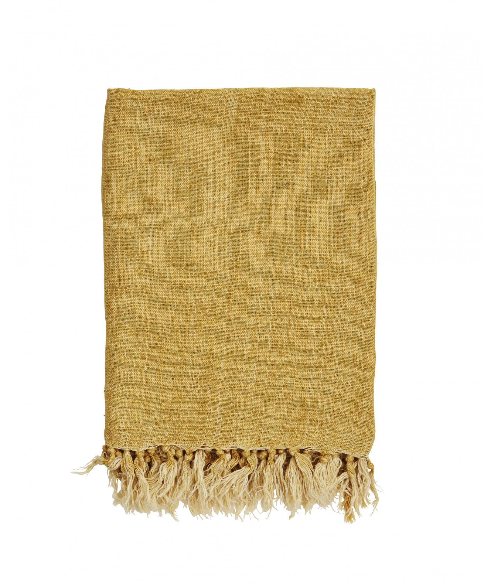 MADAM STOLTZ Lněný pléd Stonewash Yellow, žlutá barva, textil