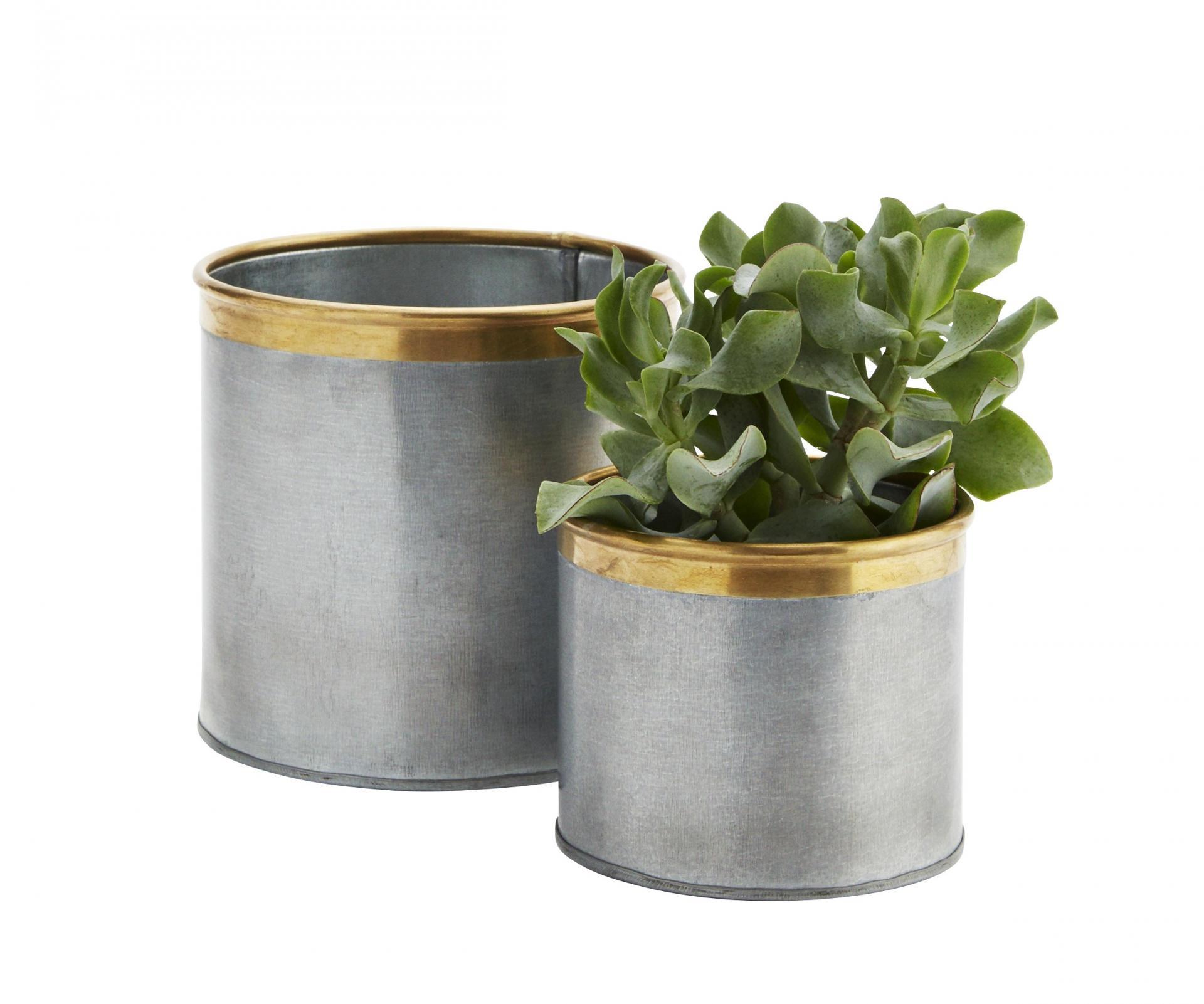 MADAM STOLTZ Obal na květníček Brass border Menší, šedá barva, zlatá barva, kov, zinek