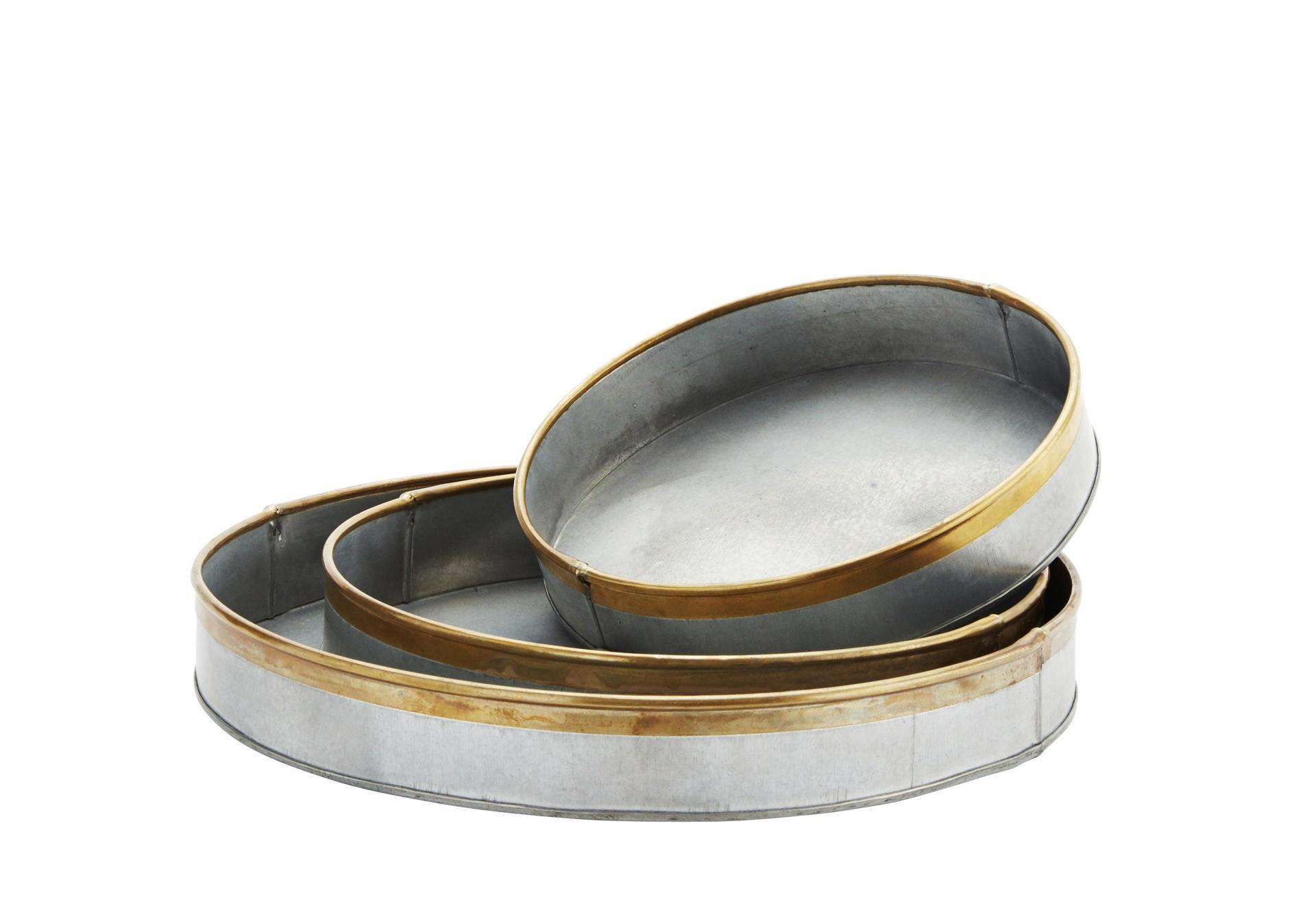 MADAM STOLTZ Kulatý zinkový tác Brass border Velikost L, šedá barva, zlatá barva, zinek