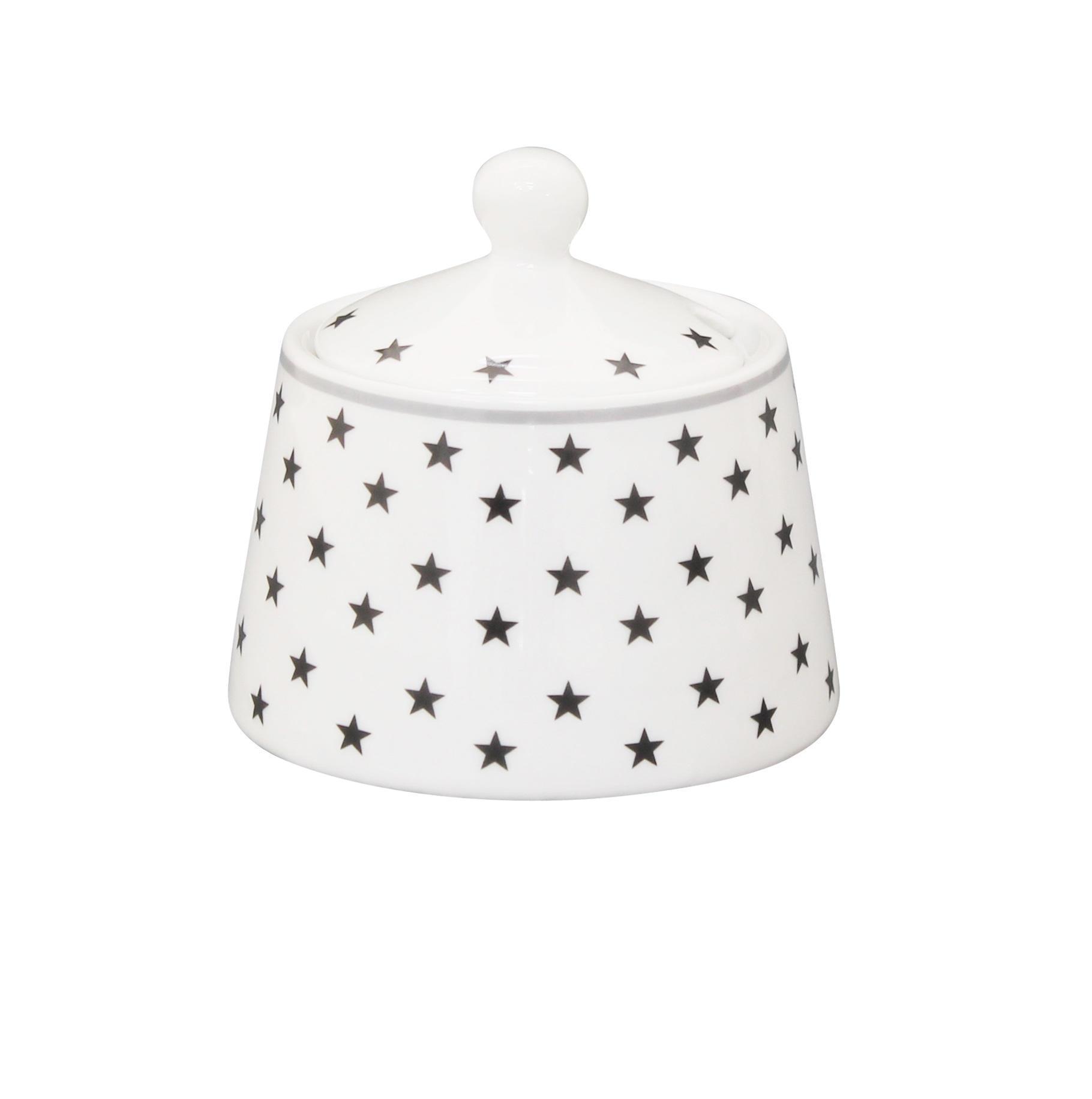 Krasilnikoff Dózička se lžičkou Charcoal stars, šedá barva, bílá barva, keramika