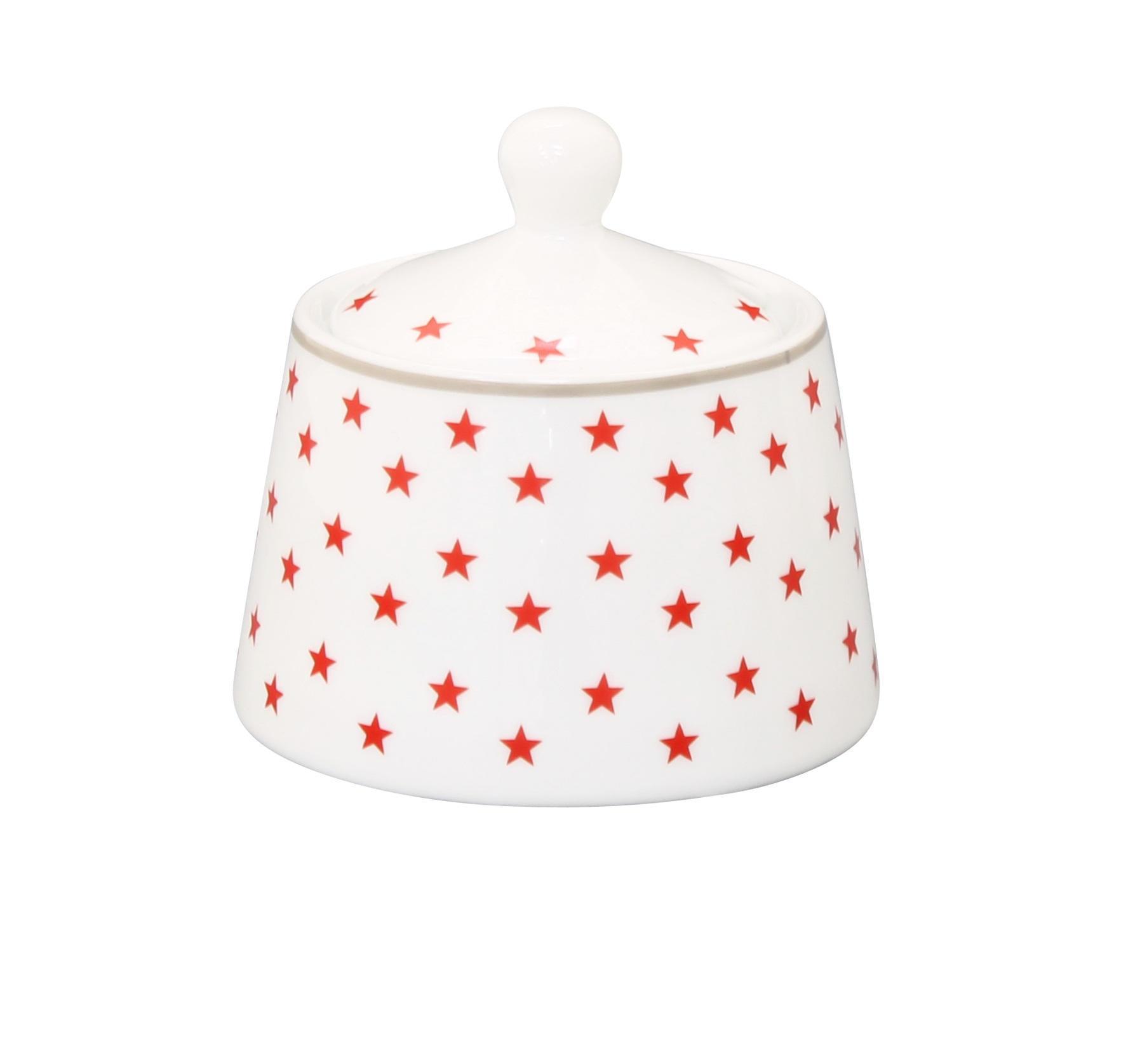 Krasilnikoff Dózička se lžičkou Red stars, červená barva, bílá barva, keramika