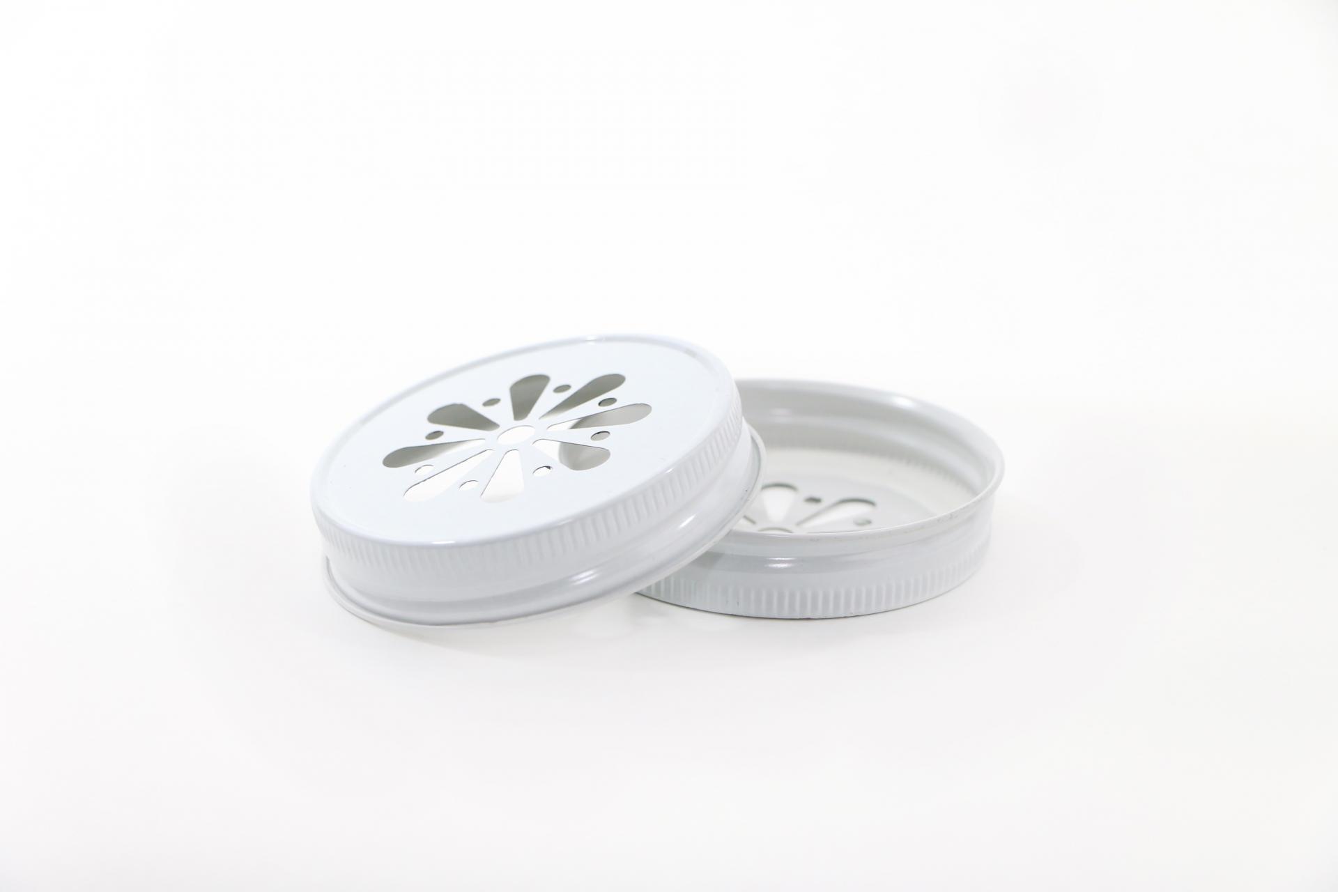 Ball Dekorativní kovové víčko Ball bílé, bílá barva, kov