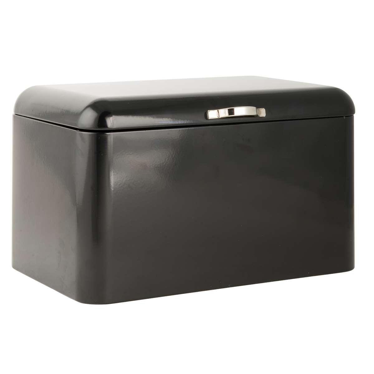 IB LAURSEN Plechový box na pečivo Style Black, černá barva, kov