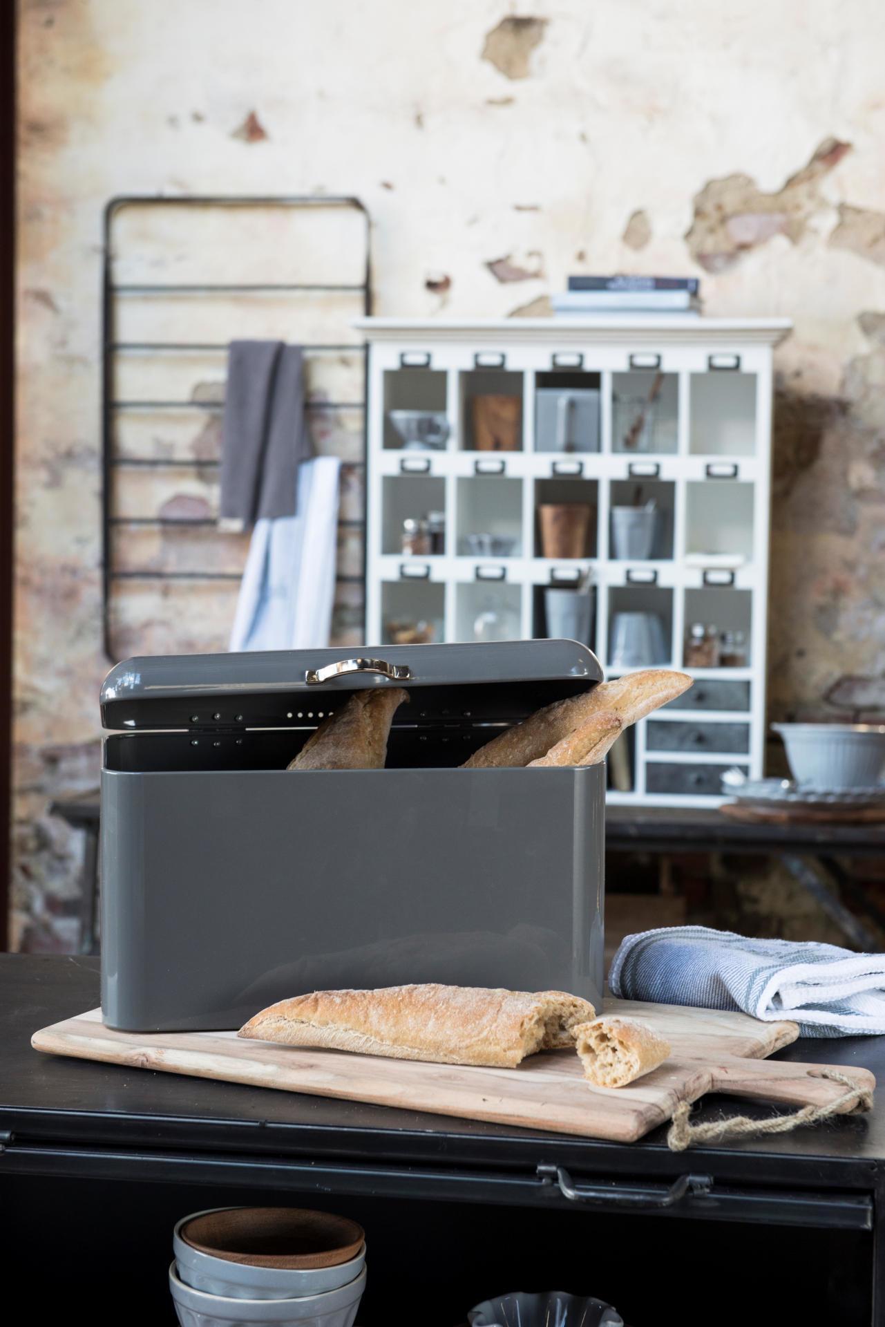 IB LAURSEN Plechový box na pečivo Grey - vysoký, šedá barva, kov