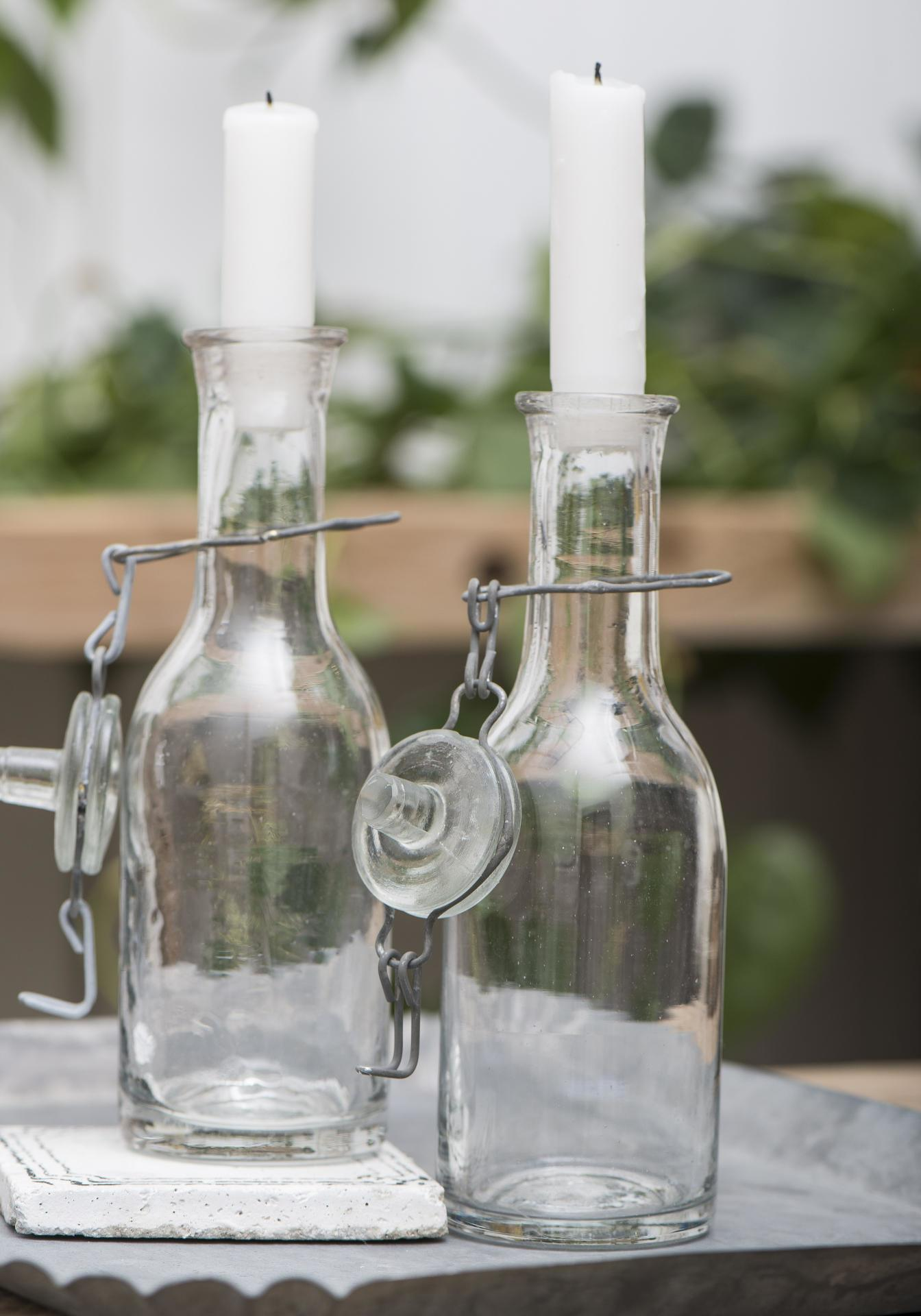 IB LAURSEN Skleněný svícen v podobě lahve, čirá barva, sklo