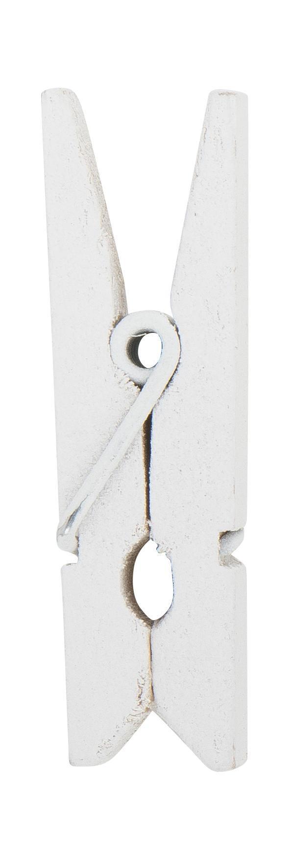 IB LAURSEN Mini dřevěné kolíčky White - 10 ks, bílá barva, dřevo