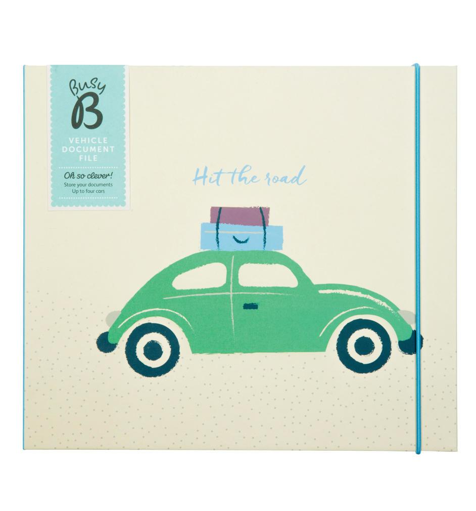 Busy B Pořadač na dokumenty od auta, modrá barva, zelená barva, papír