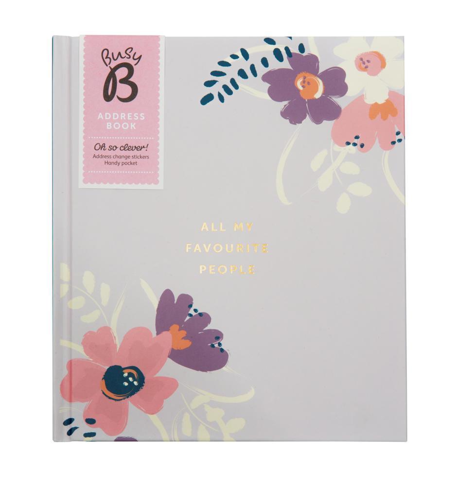 Busy B Adresář My favourite people Floral, fialová barva, papír