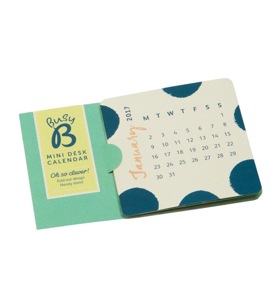 Busy B Mini stolní kalendář Fashion 2017, modrá barva, papír