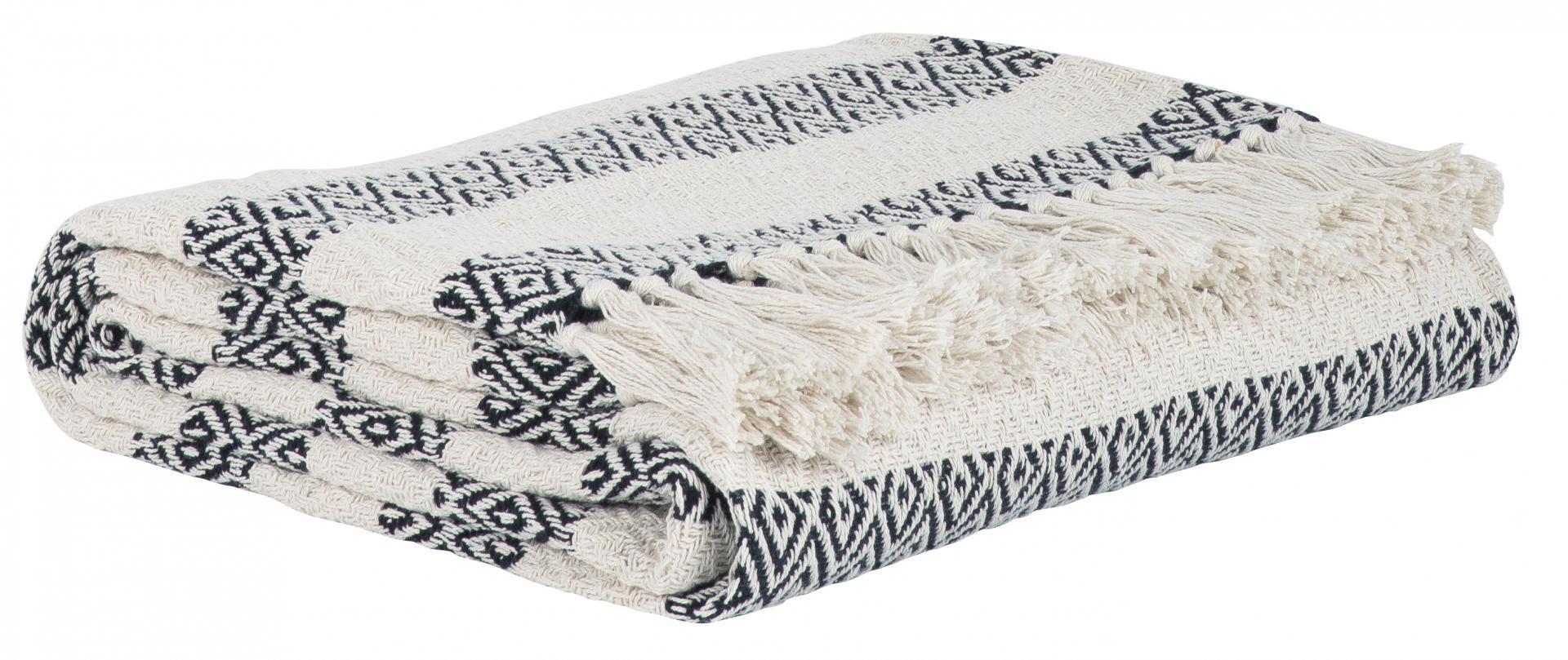 Černo-béžový bavlněný pruhovaný přehoz s třásněmi  ea70291d5c