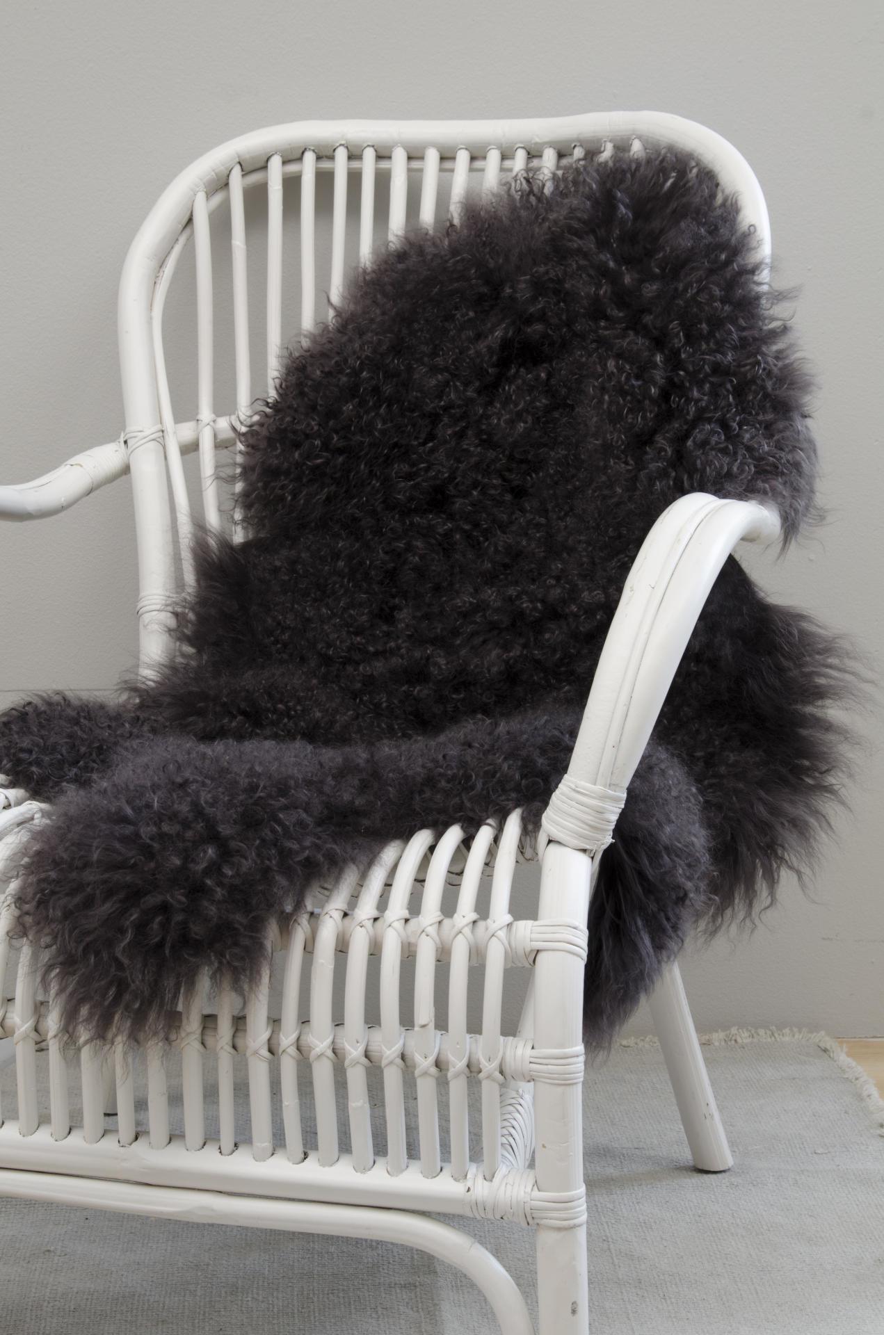 IB LAURSEN Tibetská ovčí kožešina Dark grey, šedá barva, kožešina Šedá