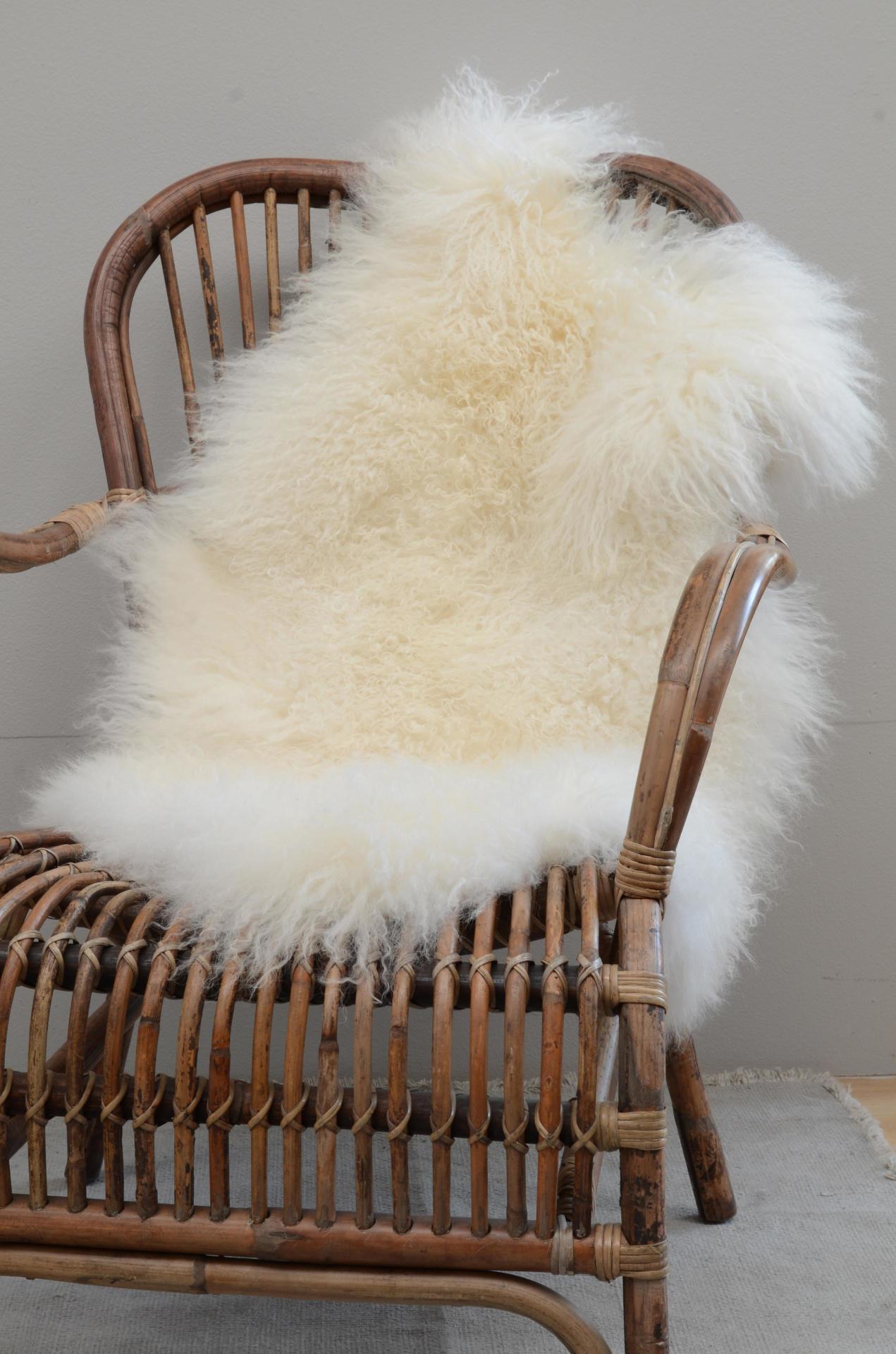 IB LAURSEN Tibetská ovčí kožešina Natural white, bílá barva, krémová barva, kožešina Krémová