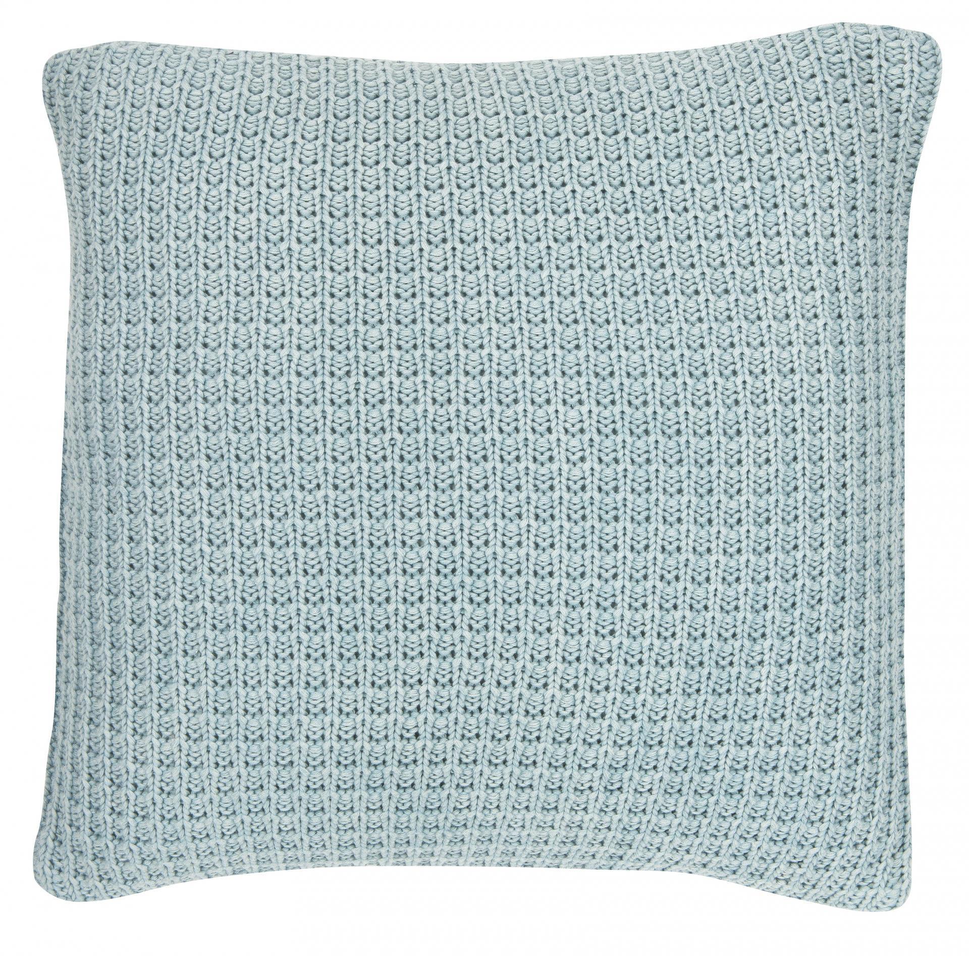 IB LAURSEN Pletený povlak na polštář Dusty blue 50x50 cm, modrá barva, textil