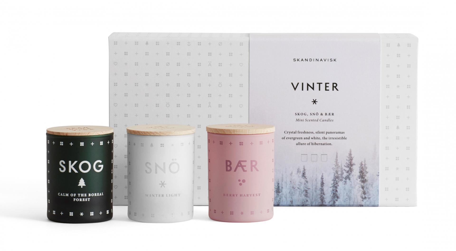 SKANDINAVISK Set mini svíček VINTER 3x55 g, bílá barva, multi barva, sklo
