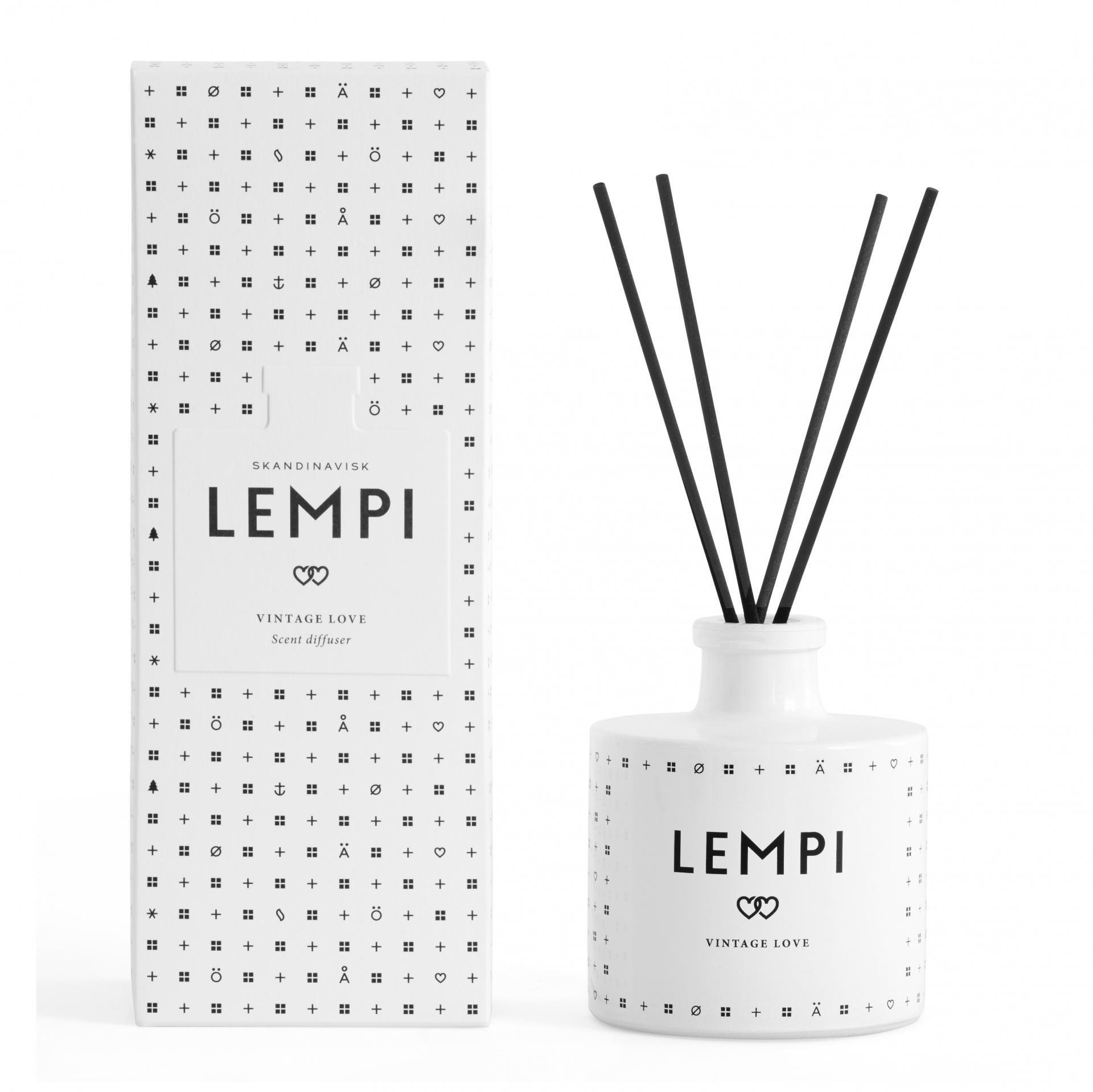 SKANDINAVISK Vonný difuzér LEMPI (láska) - 200 ml, bílá barva, sklo