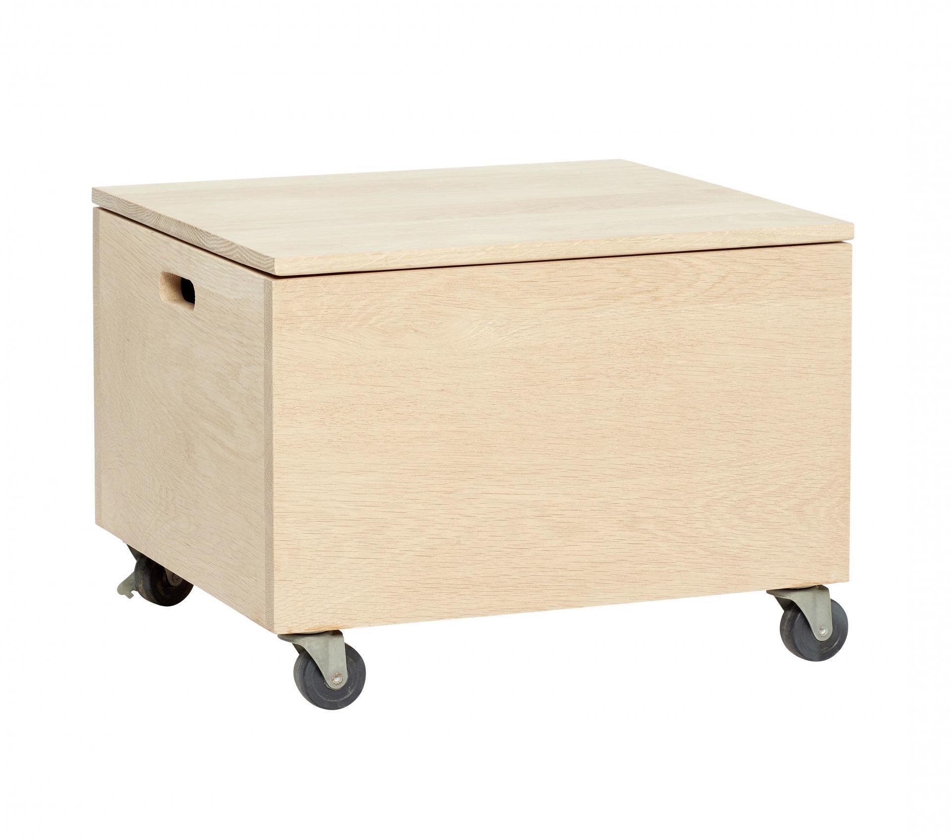 Hübsch Dřevěný úložný box na kolečkách Nature, béžová barva, hnědá barva, dřevo