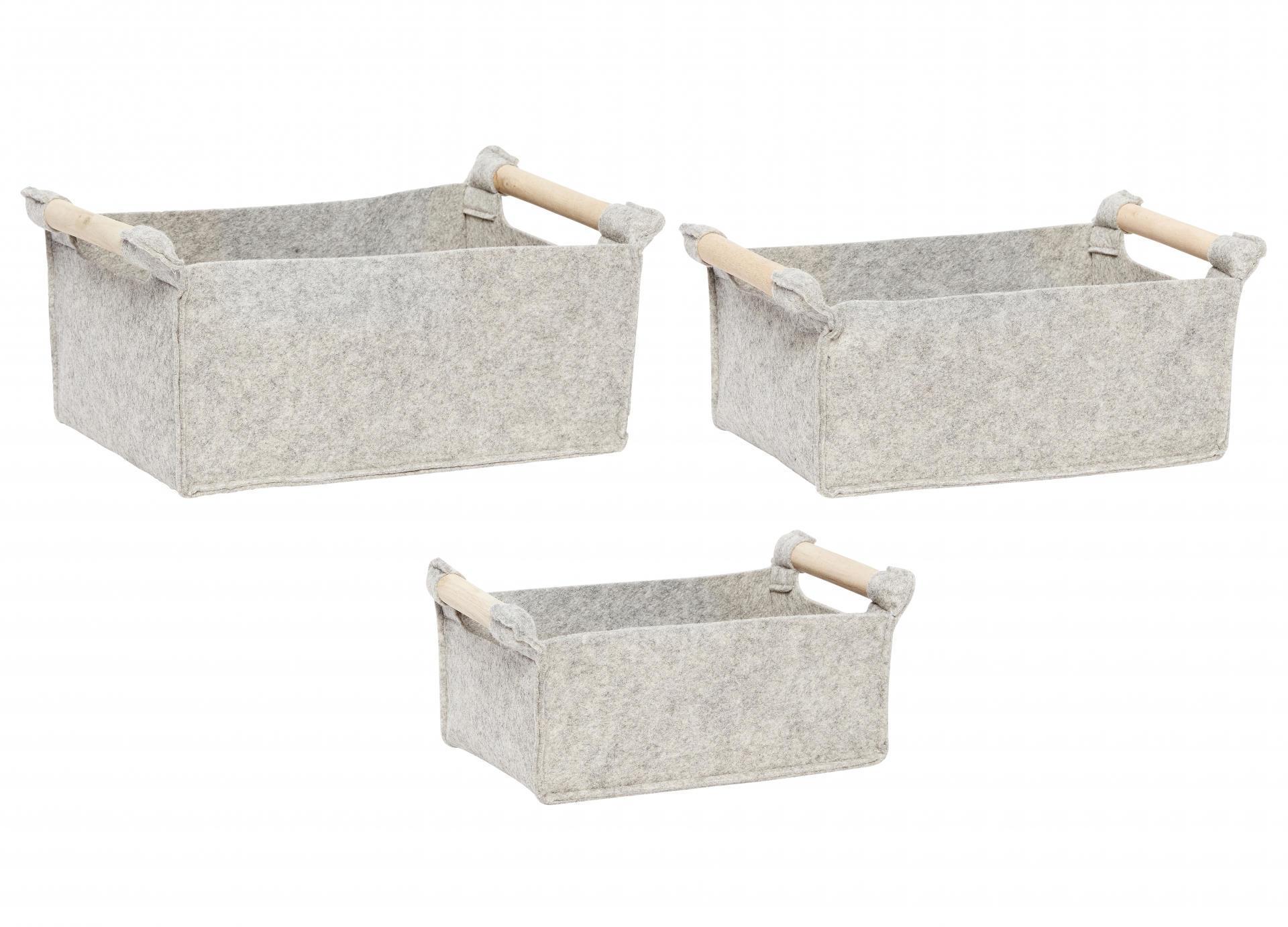 Hübsch Plstěný košík s dřevěnými uchy Grey - set 3 ks, šedá barva, textil
