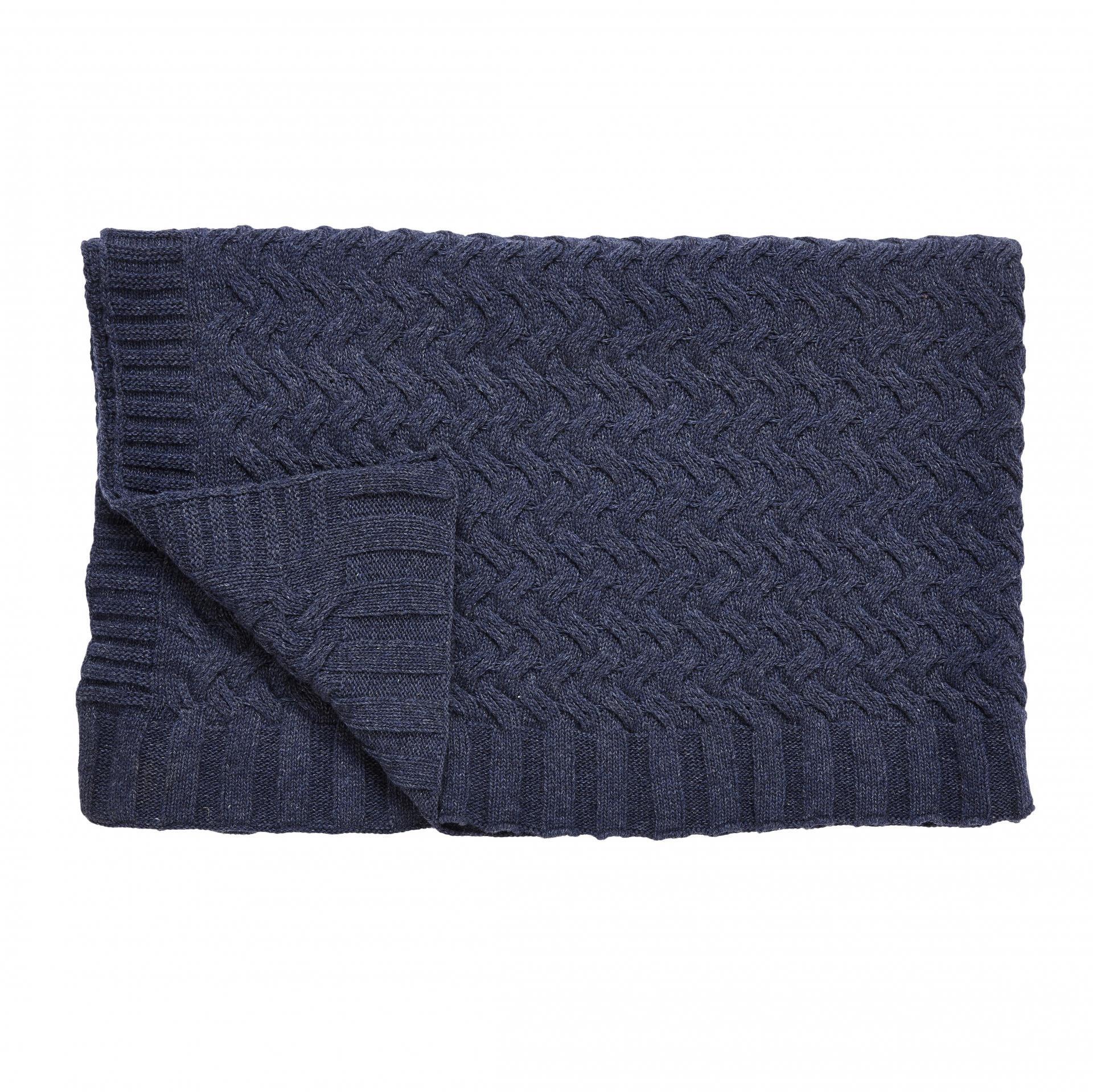 Hübsch Vlněný pléd Navy melange 130x170 cm, modrá barva, textil