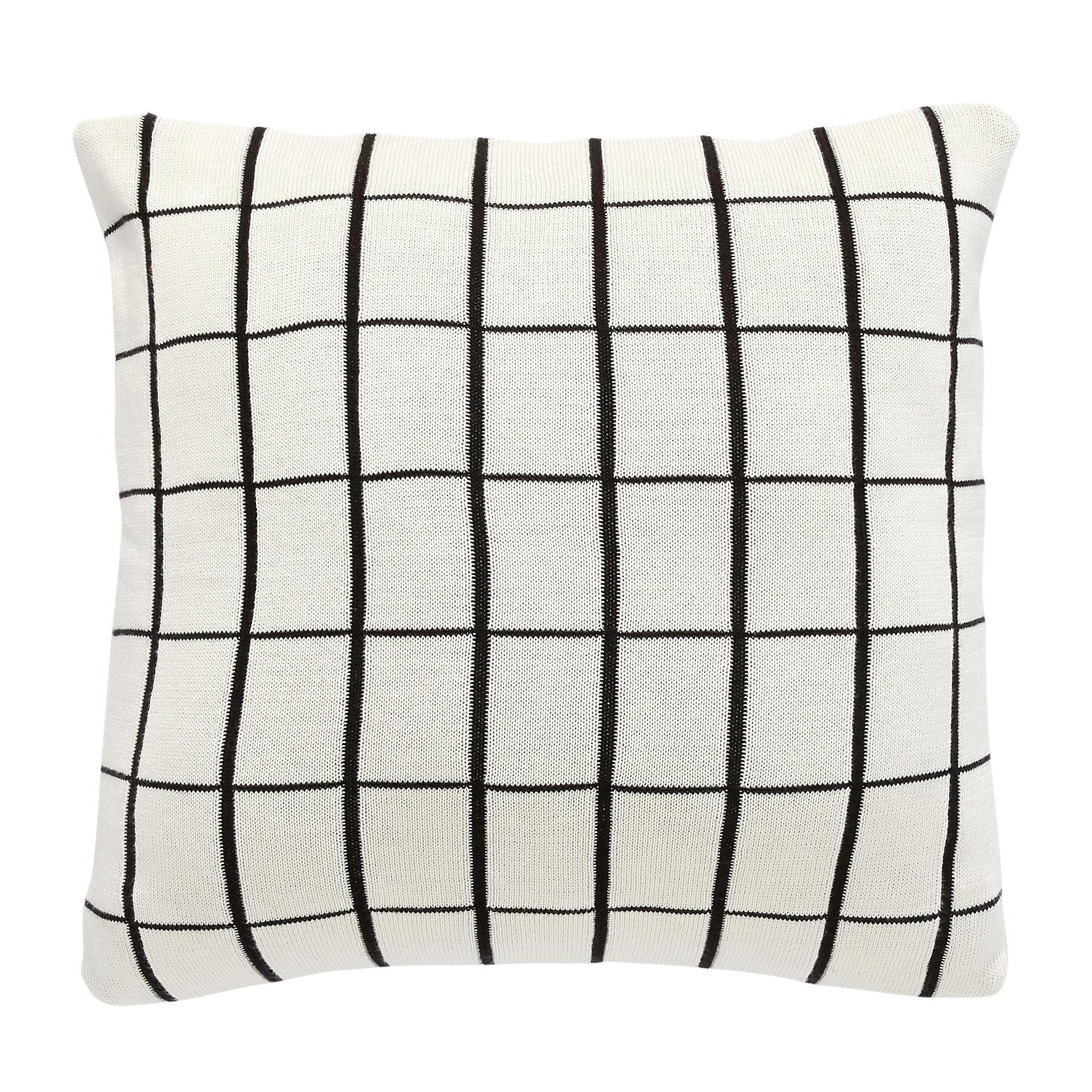 Hübsch Polštář Grid White 50x50 cm, bílá barva, textil