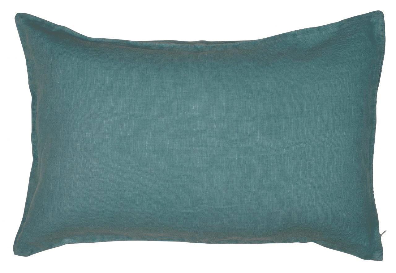 IB LAURSEN Lněný povlak na polštář Petrol 40x60 cm, modrá barva, textil