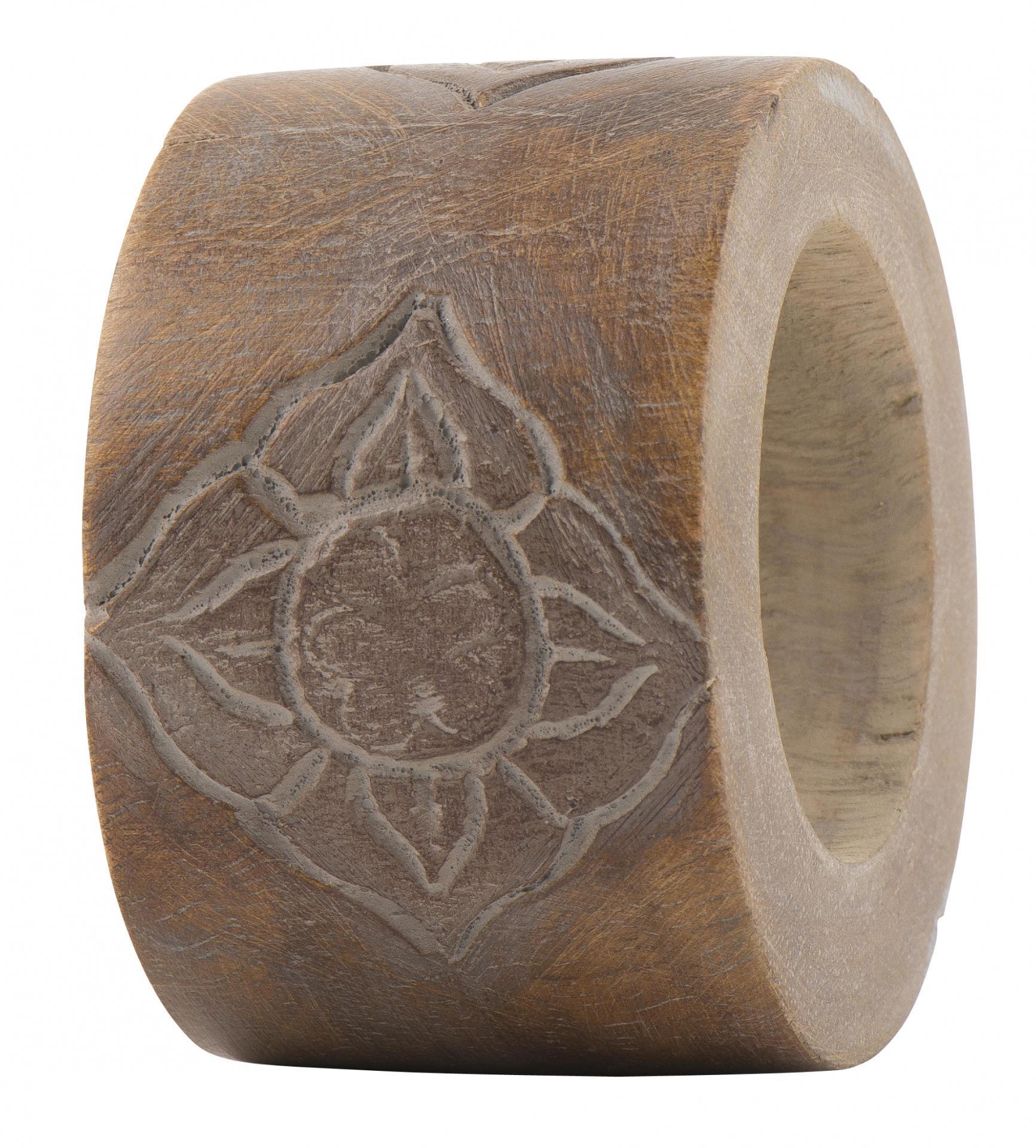 IB LAURSEN Dřevěný kroužek na ubrousky Flower, hnědá barva, dřevo