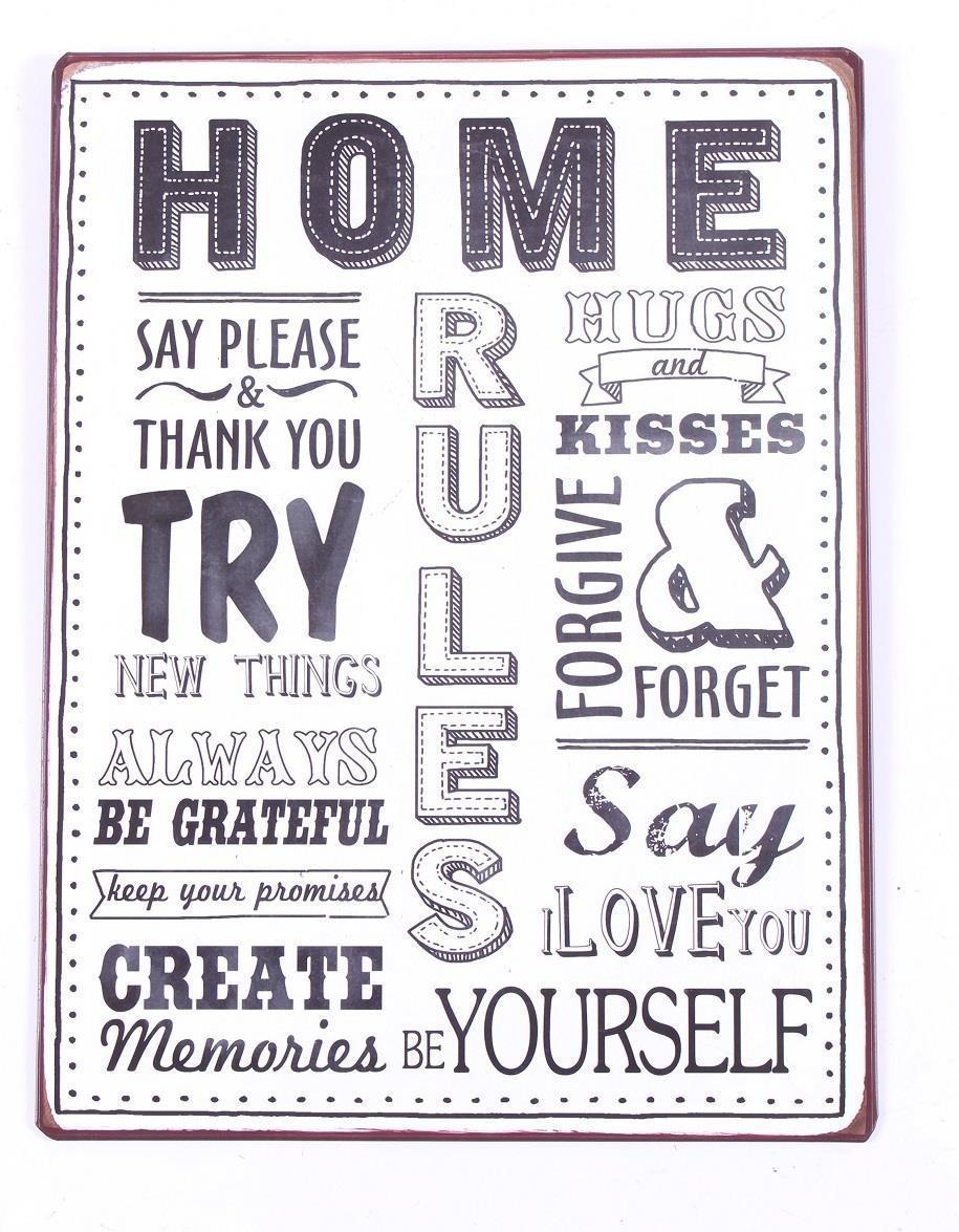 72848046b9f La finesse Plechová cedule Home rules