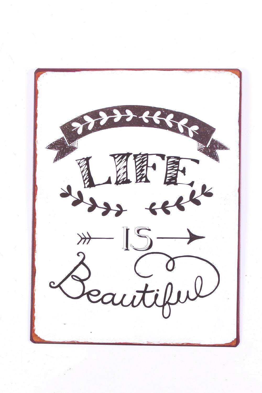 La finesse Plechová cedule Life is beautiful, bílá barva, kov