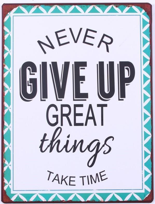 4939a11c310 La finesse   Plechová cedule Never give up