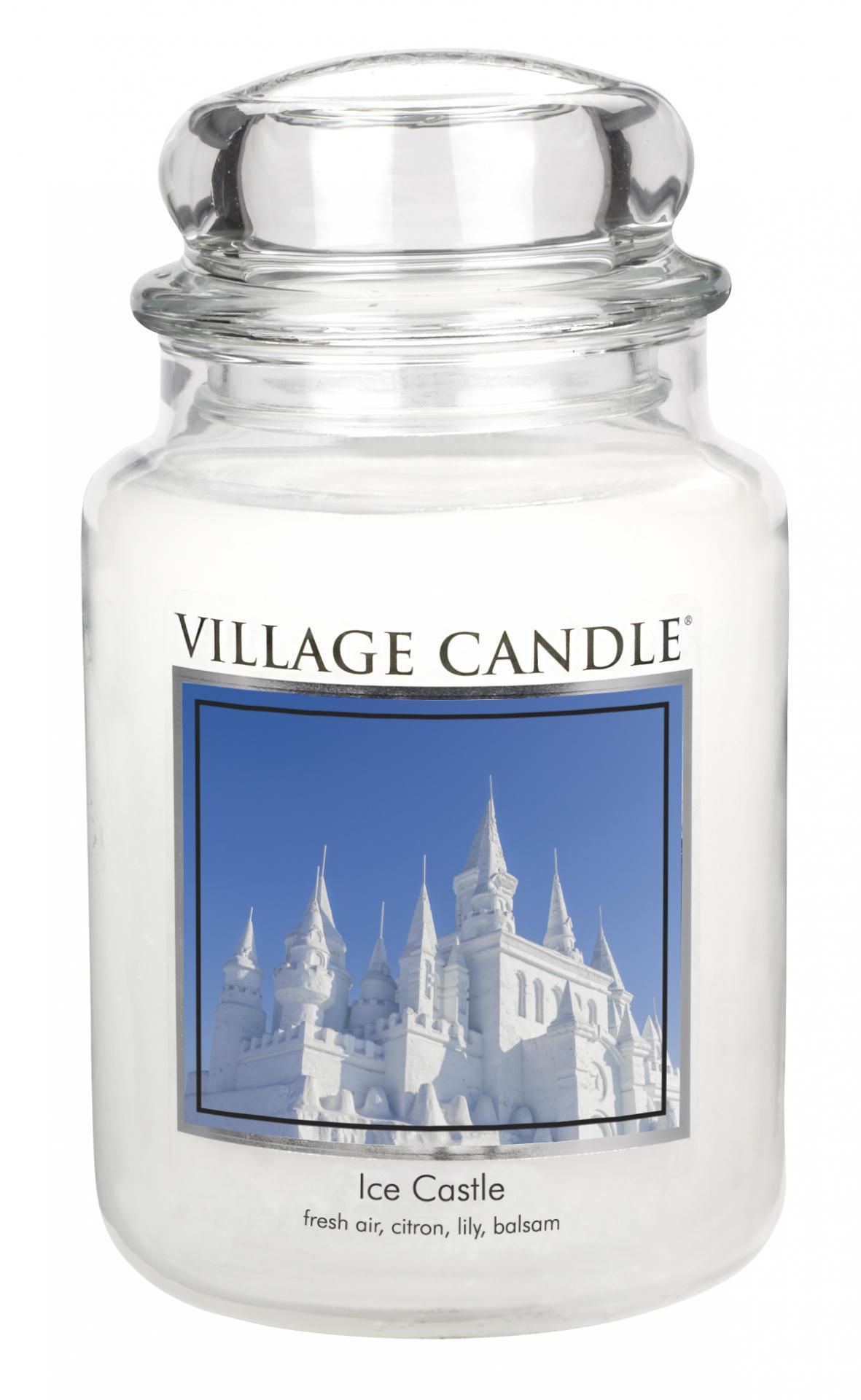 Village Candle Svíčka ve skle Ice Castle - velká, bílá barva, sklo, vosk