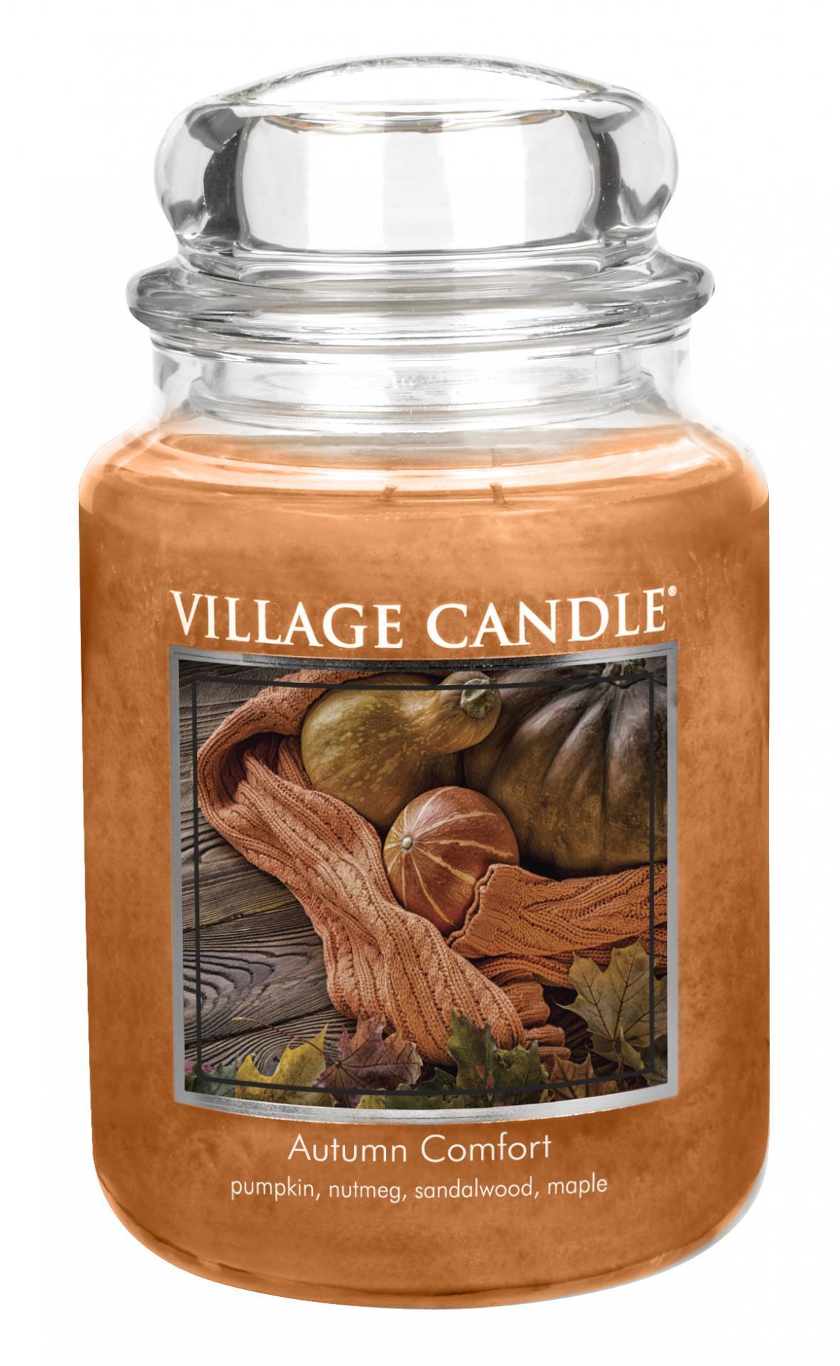 VILLAGE CANDLE Svíčka ve skle Autumn Comfort - velká, oranžová barva, hnědá barva, sklo, vosk